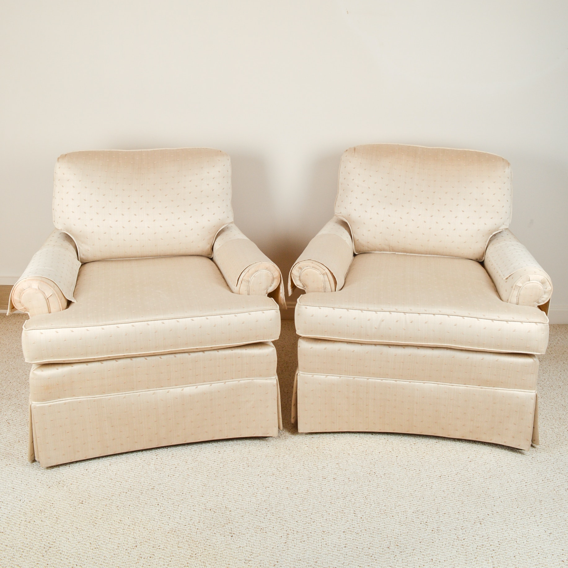 Pair of Upholstered Club Chairs By Lazarus Furniture