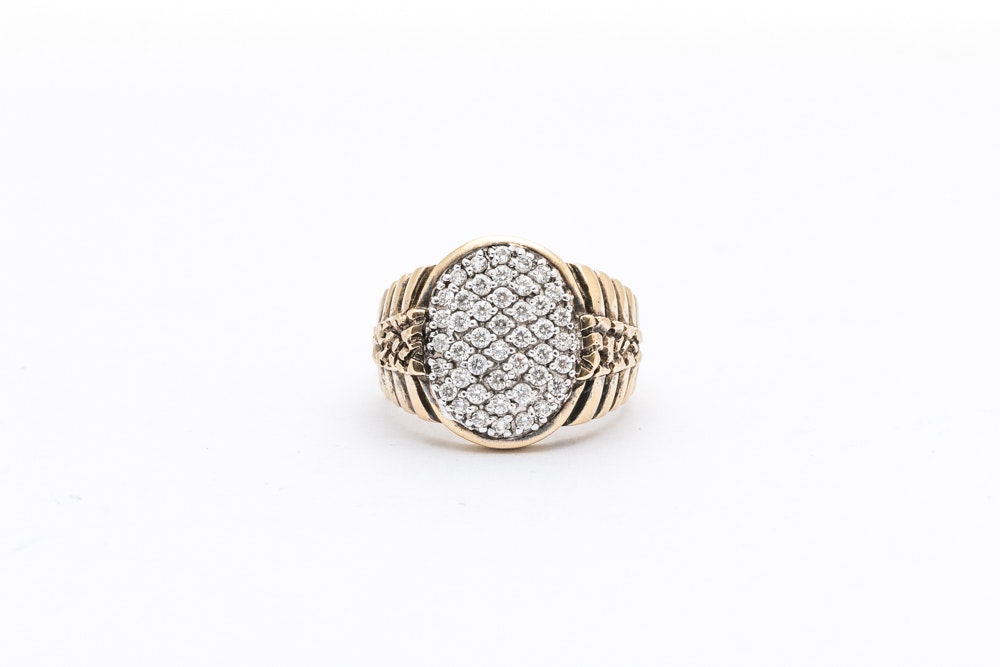 Gold Wash on Sterling Silver Imitation Diamond Ring