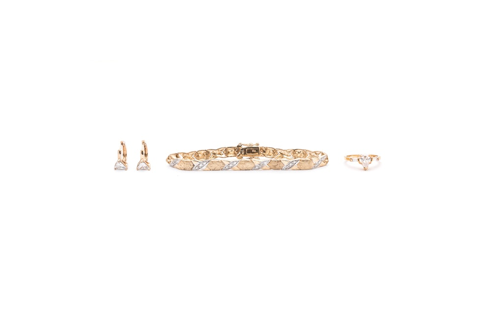 Gold Wash on Sterling Silver Diamond and Cubic Zirconia Jewelry