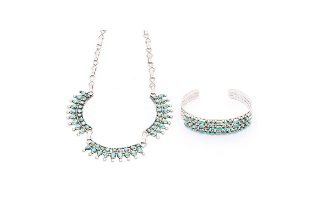 900 Silver Howlite and Imitation Turquoise Necklace and Bracelet