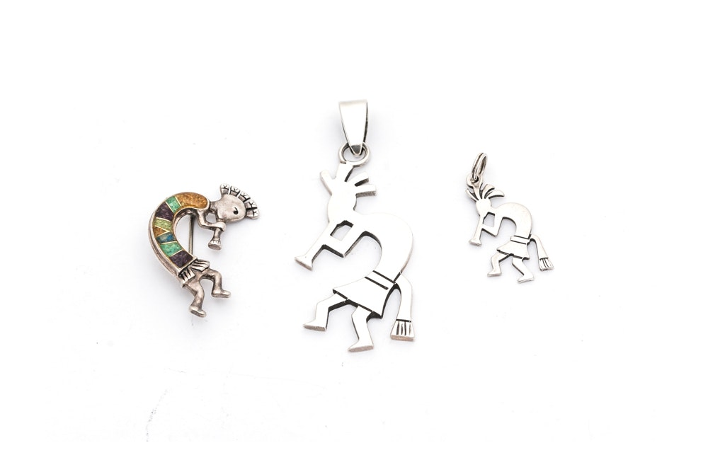 Sterling and 900 Silver Kokopelli Pendants and Pin
