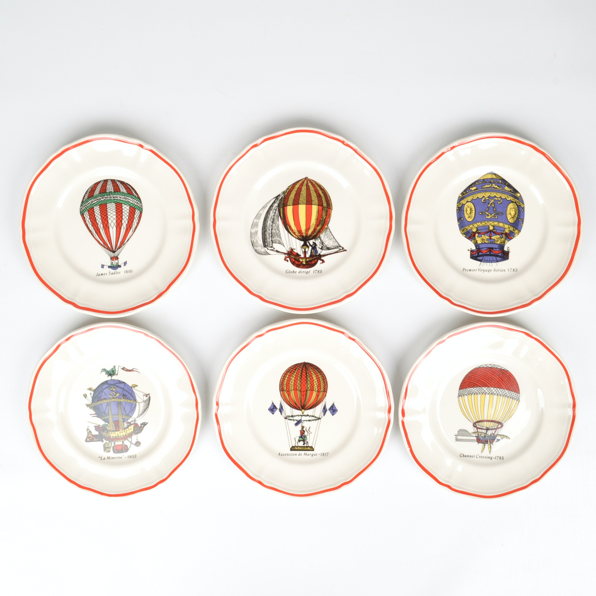 Six Vintage Longchamp France Hot Air Balloon Canape Plates