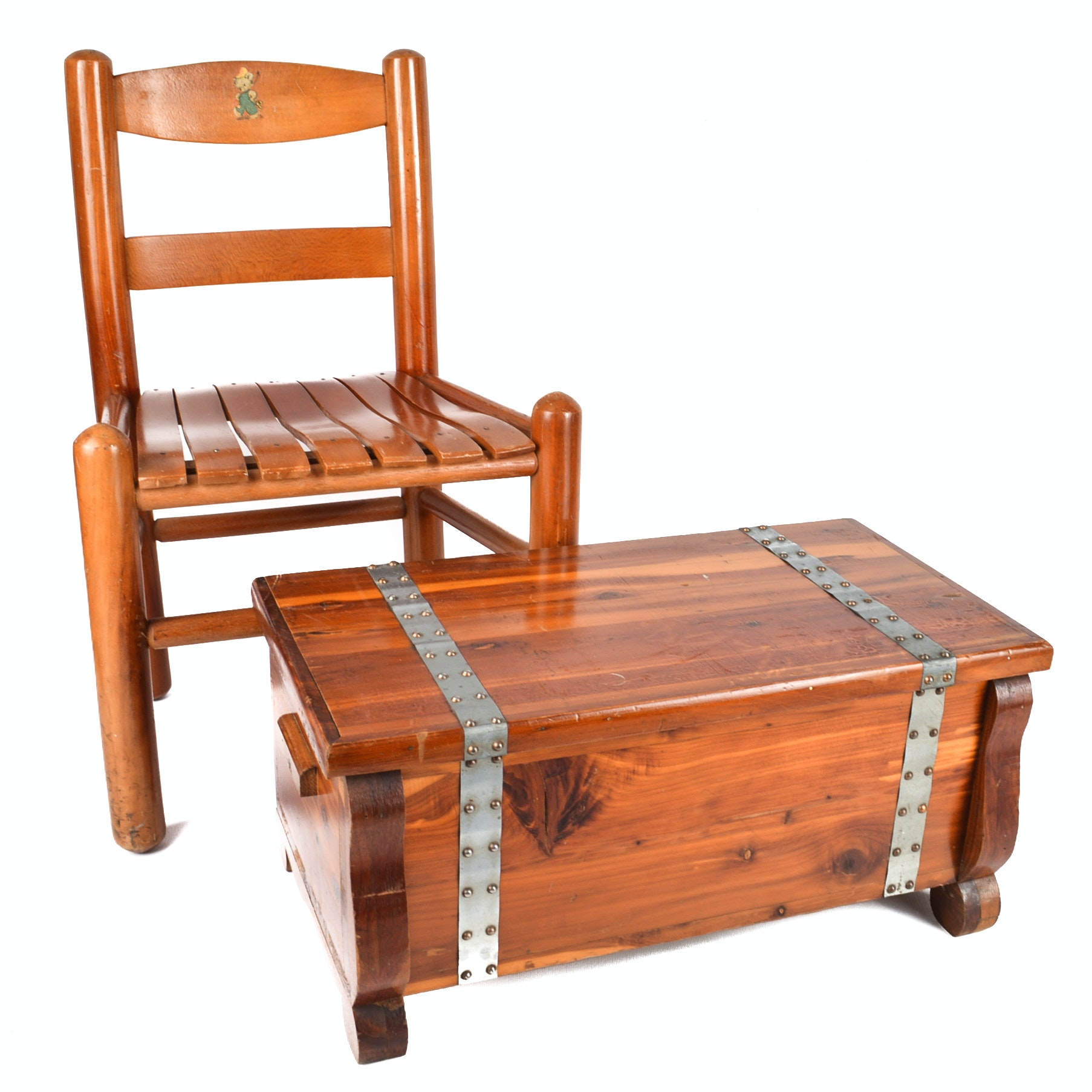 Small Cedar Chest and Child's Chair