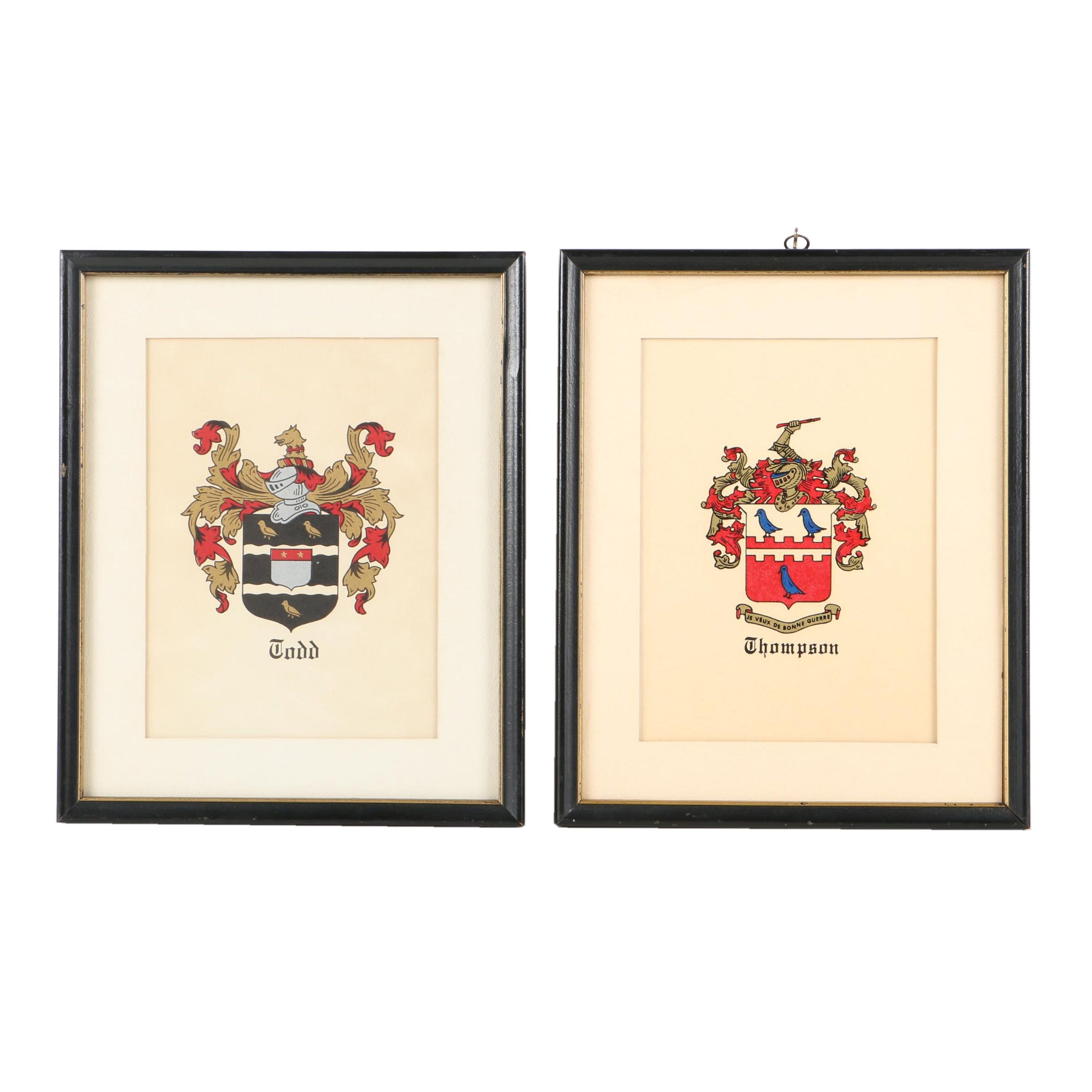"Serigraphs of Coat of Arms for ""Todd"" and ""Thompson"""