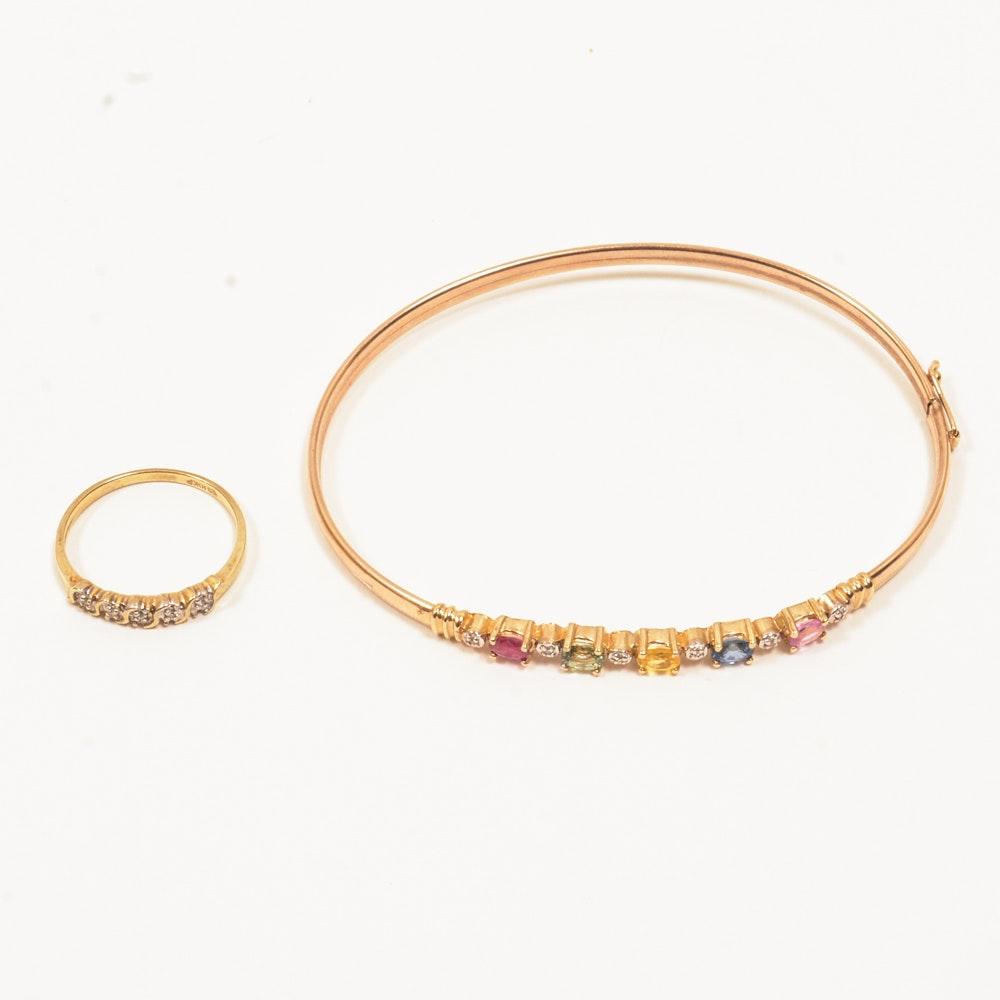 10K Yellow Gold Diamond Bracelet and Ring