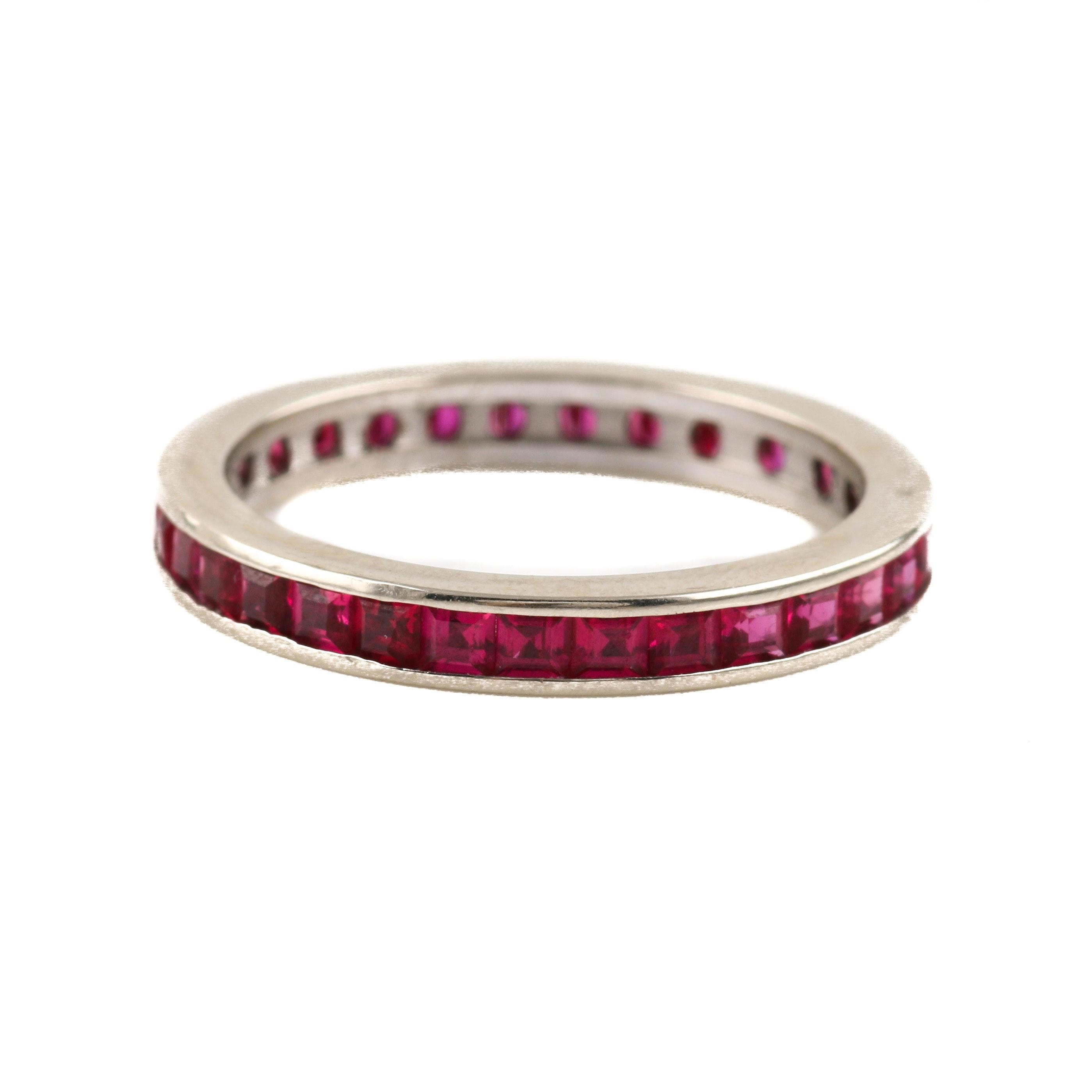14K White Gold Ruby Eternity Ring Band