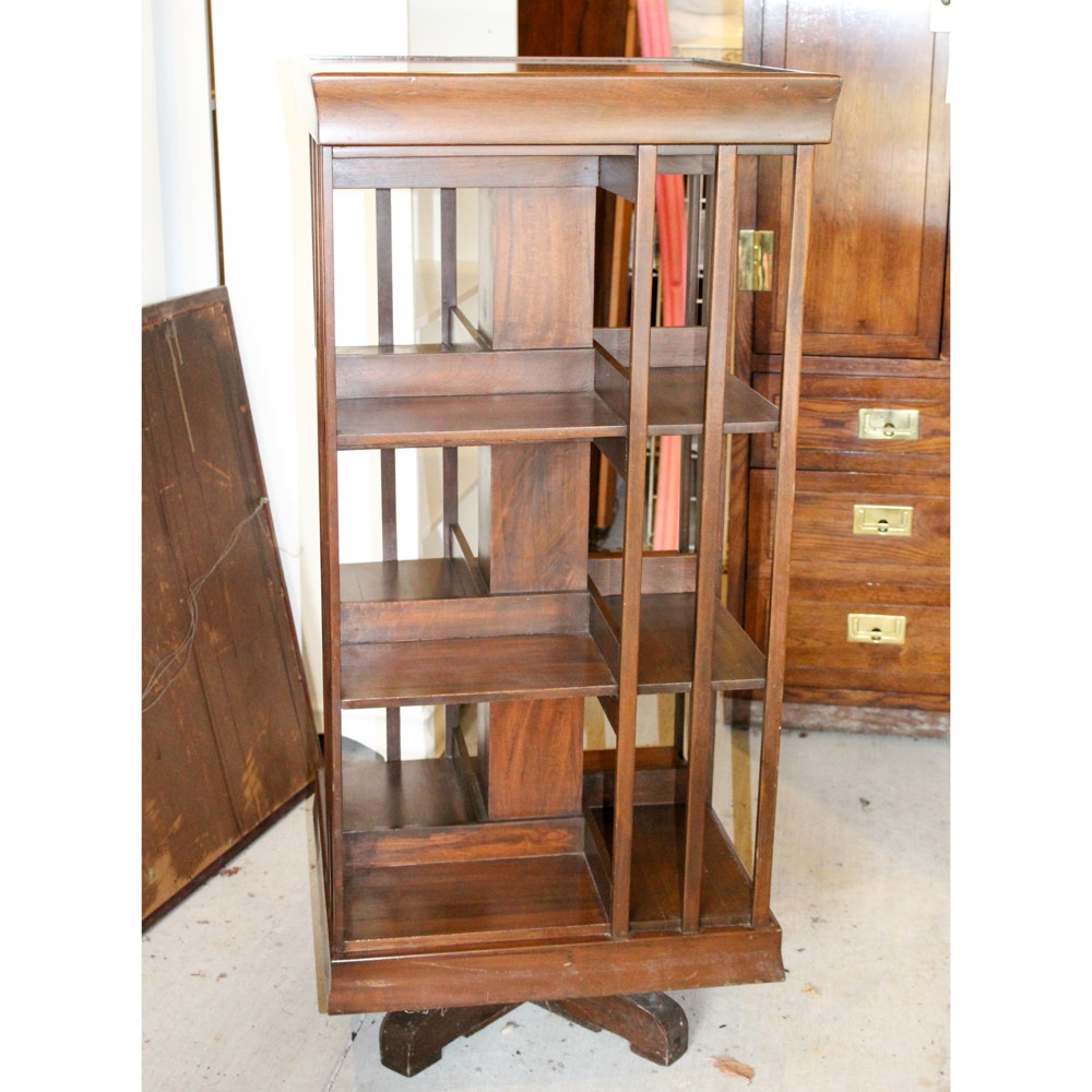 Mid Century Modern Rotating Bookcase