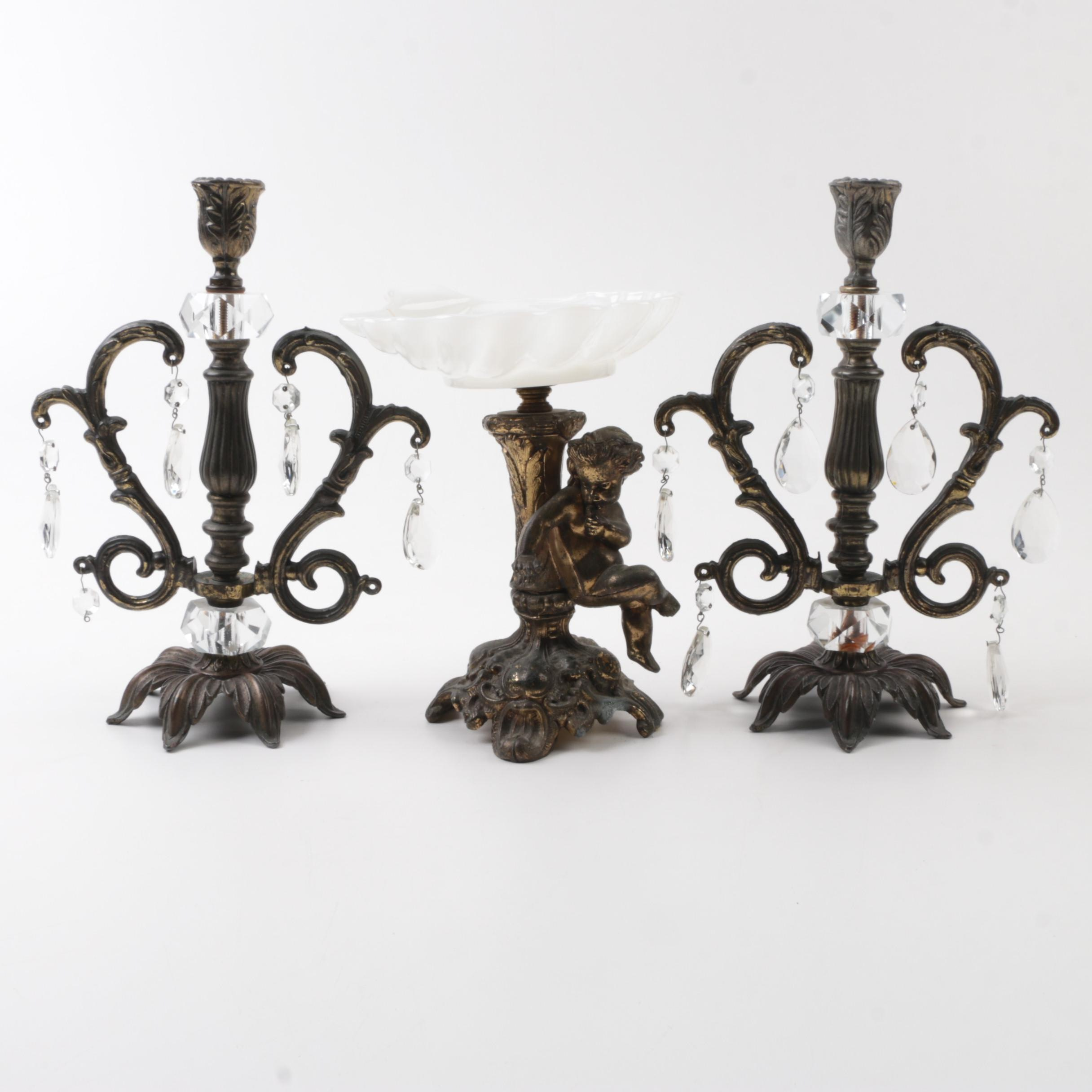 Vintage Baroque Style Brass Cherub Dish and Candlesticks