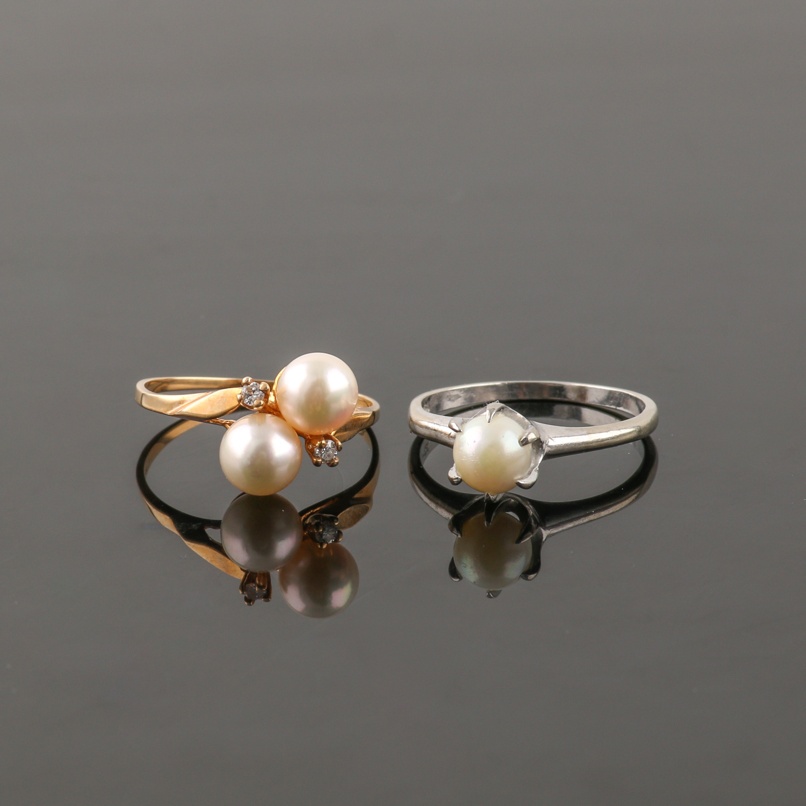 10K Mixed Metal Cultured Pearl and Diamond Ring Selection