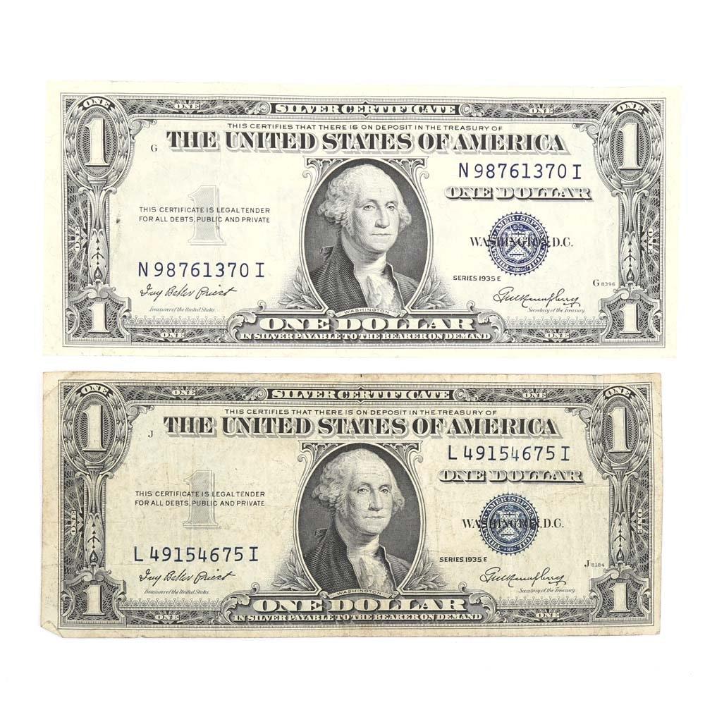 Two 1935-E Blue Seal $1 Silver Certificates