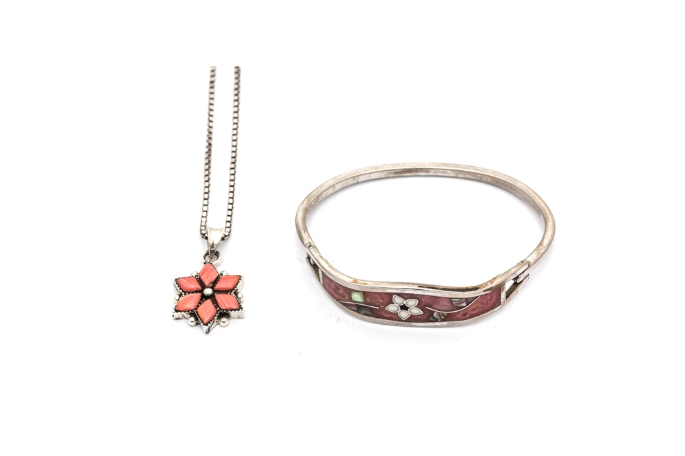 Sterling Silver Coral Pendant Necklace and Taxco Multi-Stone Bracelet