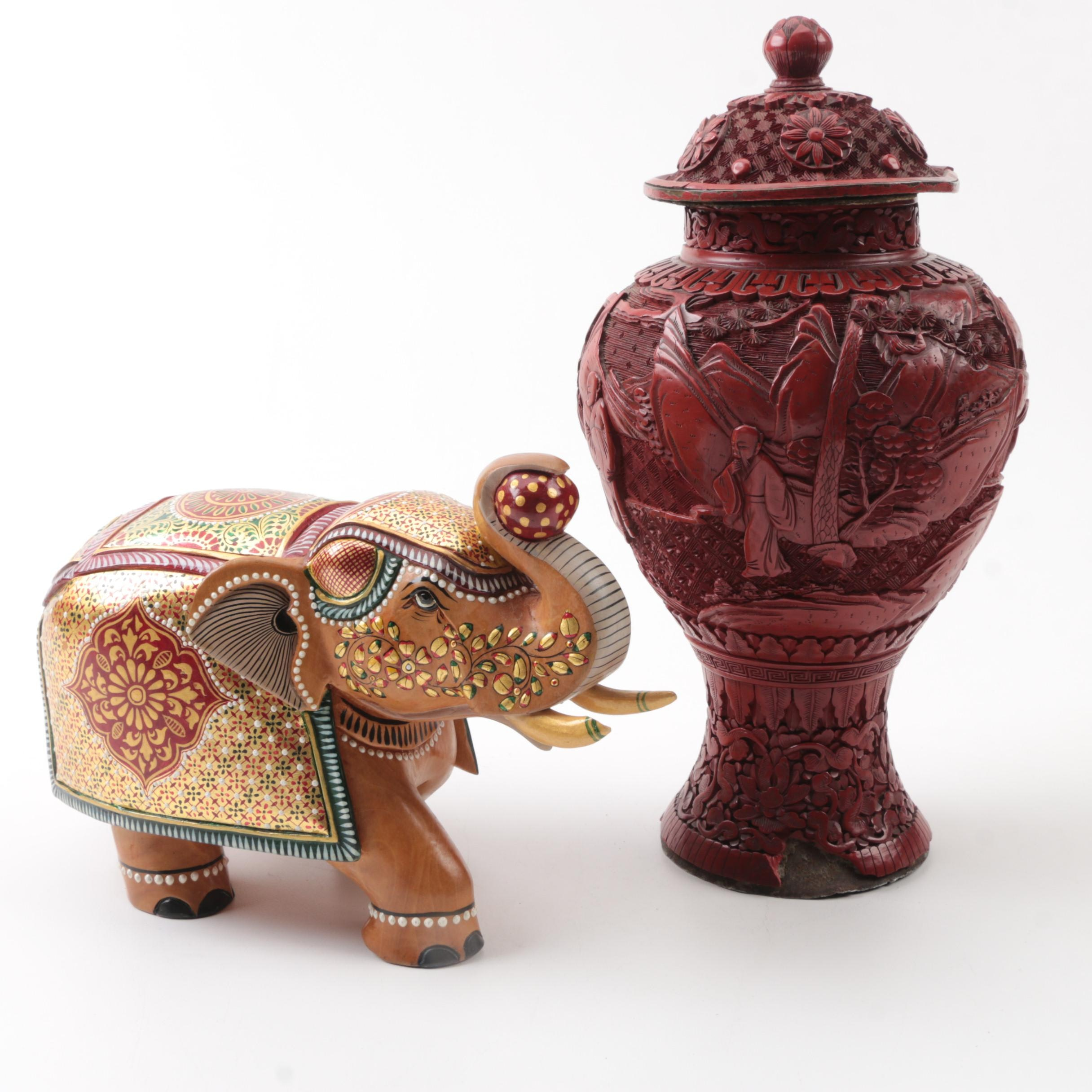 Vintage Chinese Carved Cinnabar Vase and Wooden Elephant