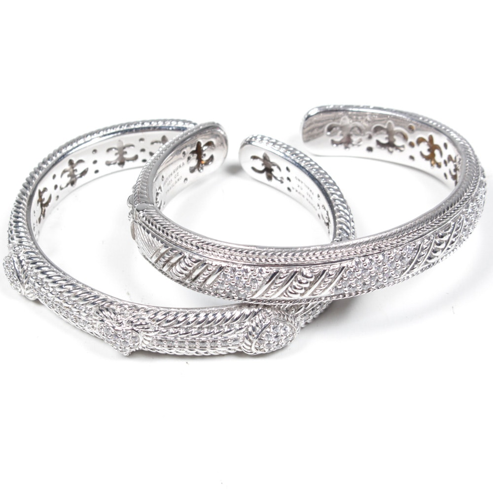 Judith Ripka Sterling Silver Bangle Bracelets
