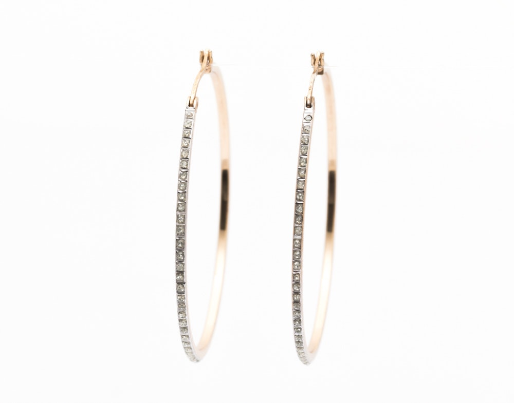Gold Wash on Sterling Silver Imitation Diamond Earrings