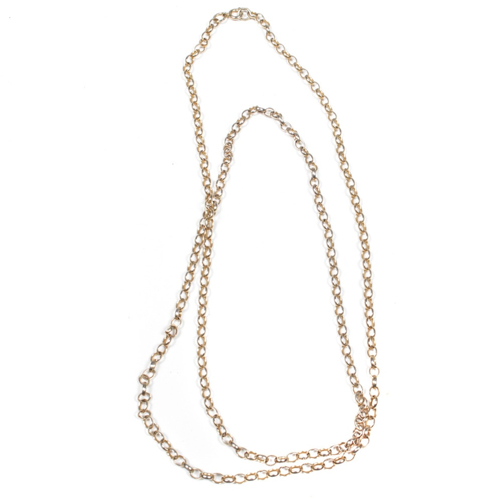 Gold Wash Sterling Silver Chain Necklace