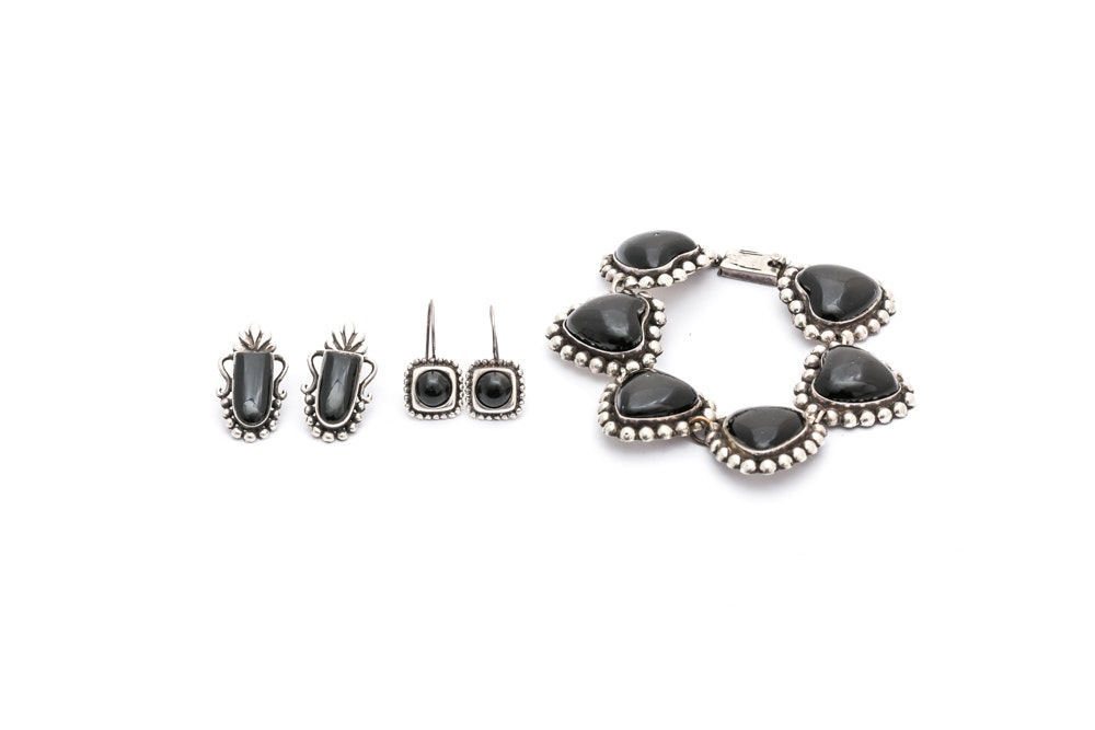 Sterling Silver and 900 Silver Black Onyx Jewelry