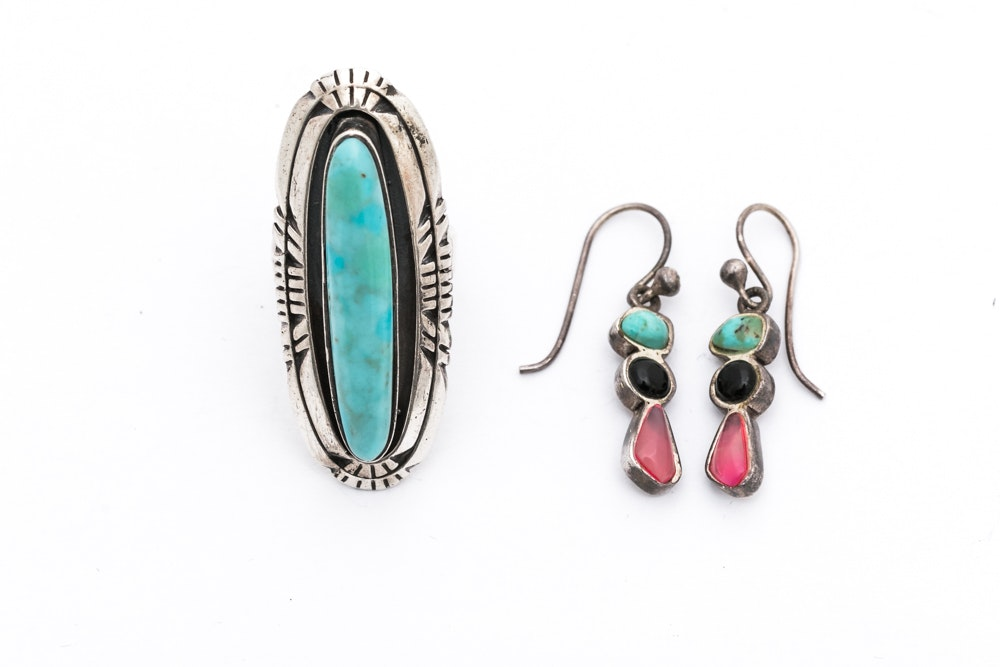 Sterling Silver Imitation Turquoise Ring and Multi-Stone Earrings