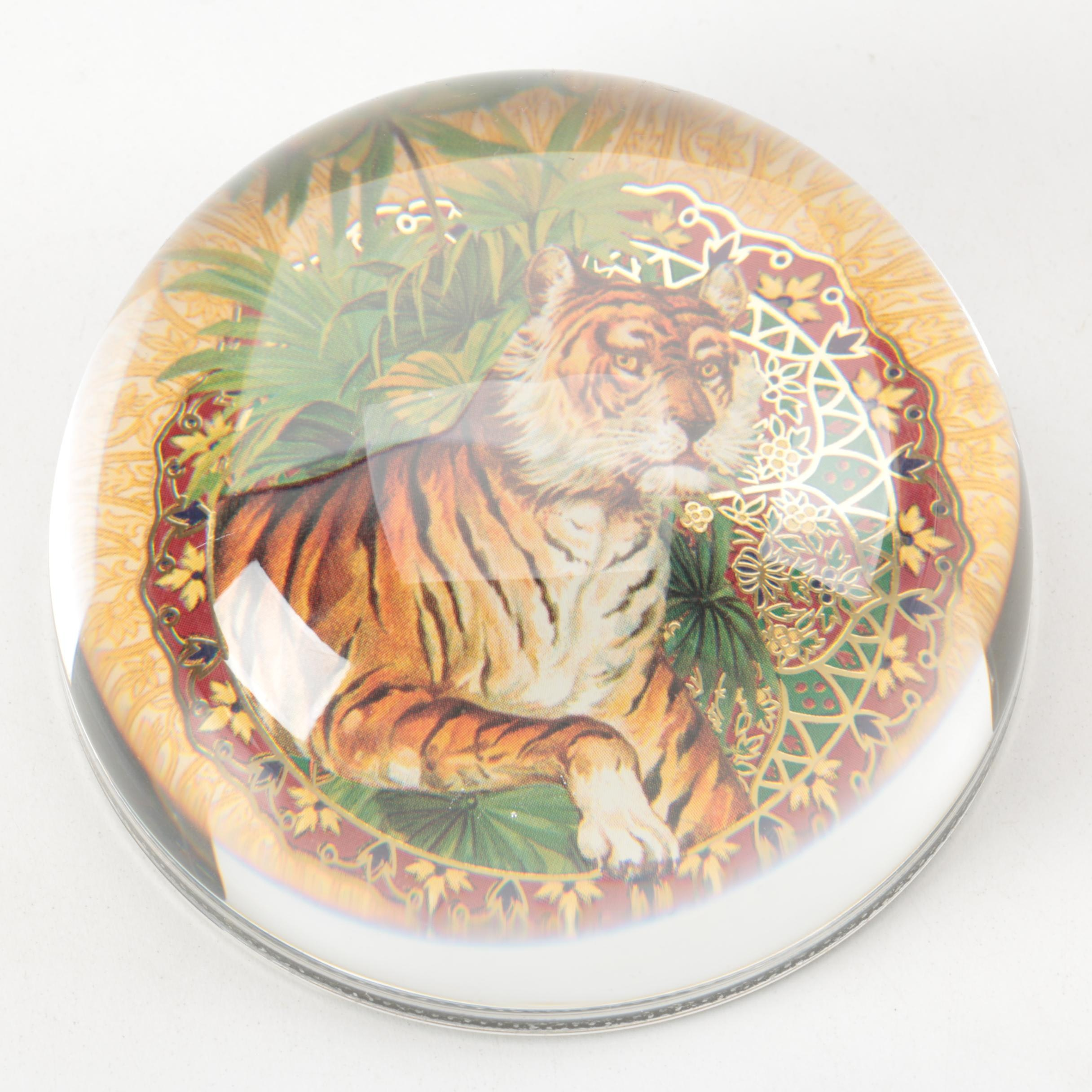 Tiger Crystal Paperweight from France