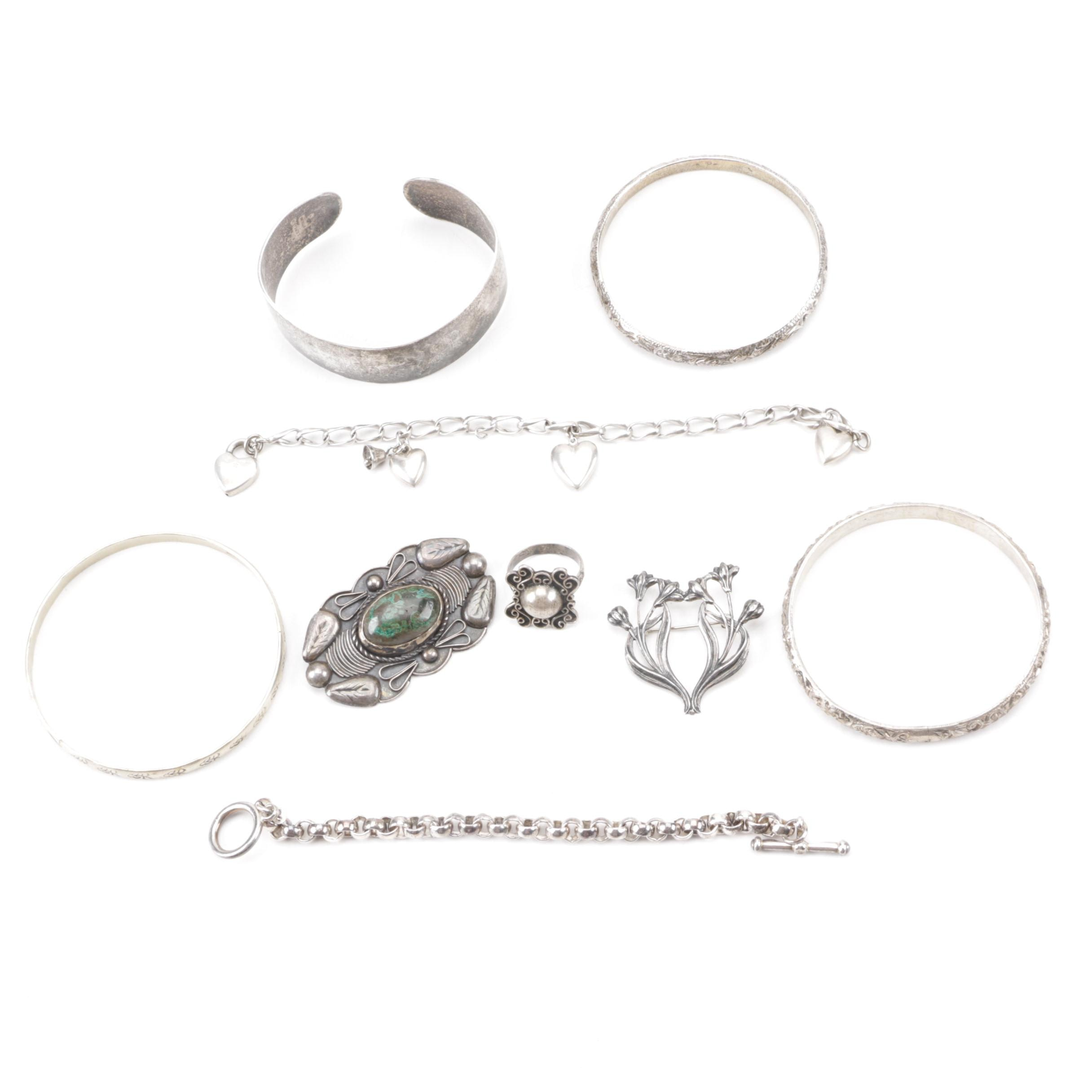 Sterling and Coin Silver Jewelry Including Mexican Brooch and Kirk & Son Cuff