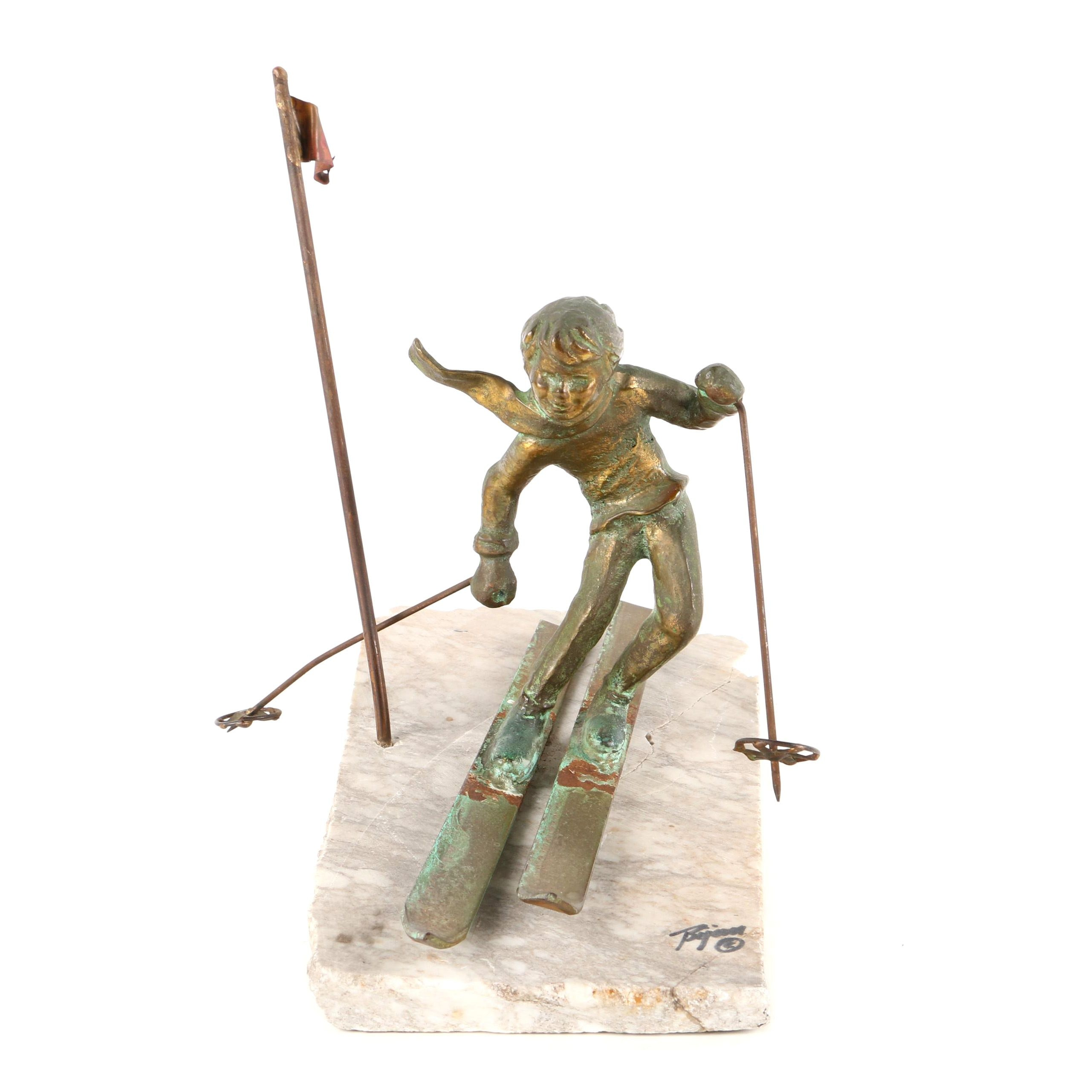 Brian Bijan Brass Sculpture of Skier on Marble Base