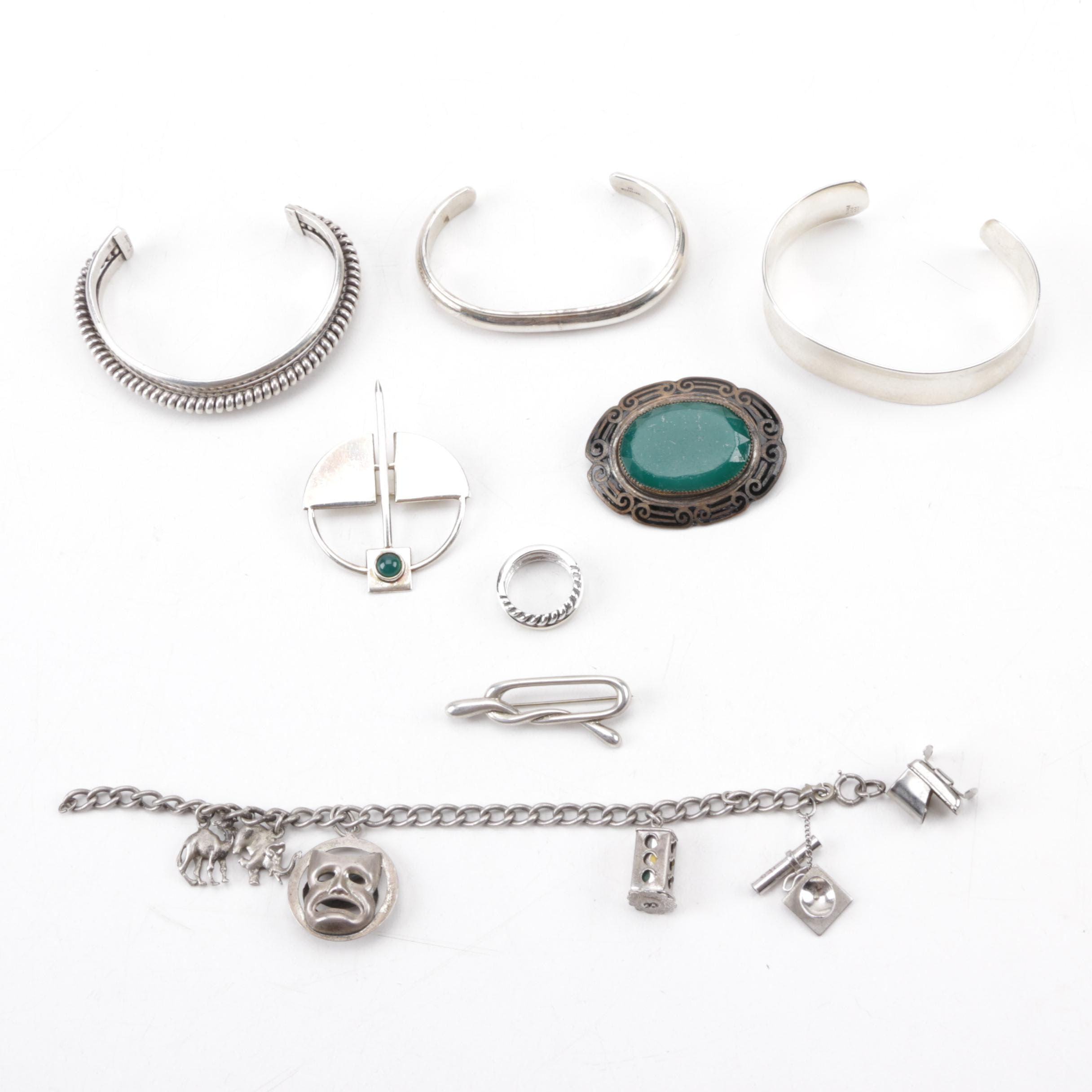 Sterling Modernist Style Sterling Penannular Brooch, Mexican Cuff and More
