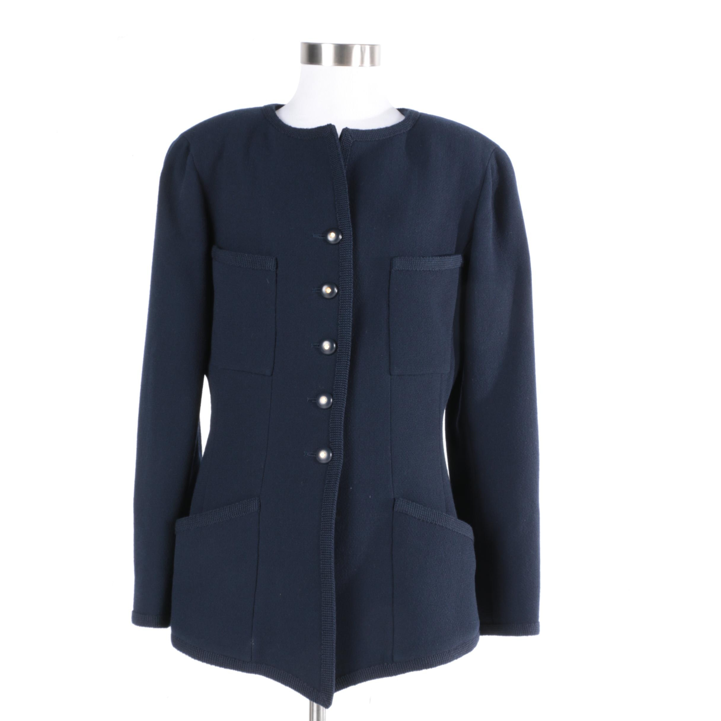 Chanel Boutique Navy Blue Wool Jacket