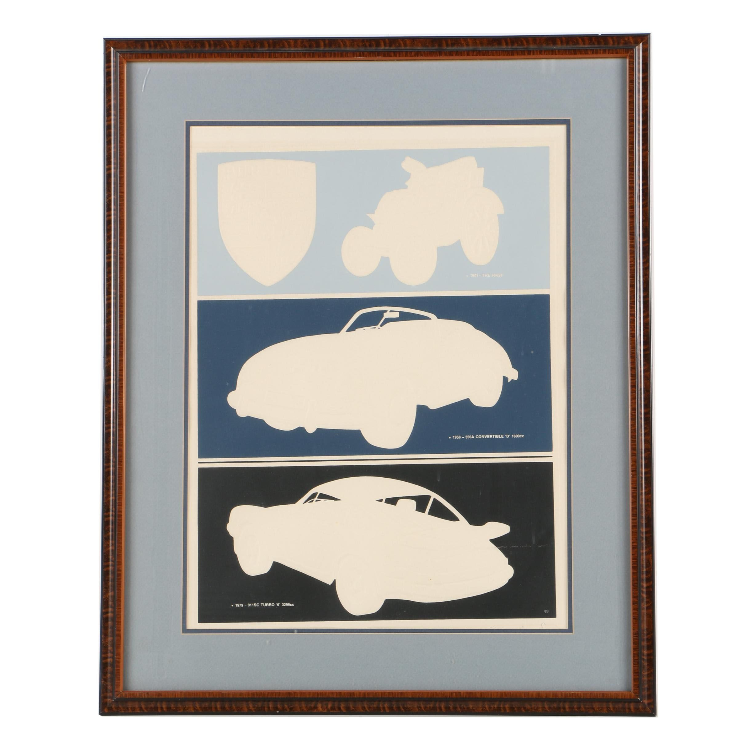Serigraph Print on Embossed Paper of Porsche Car Models