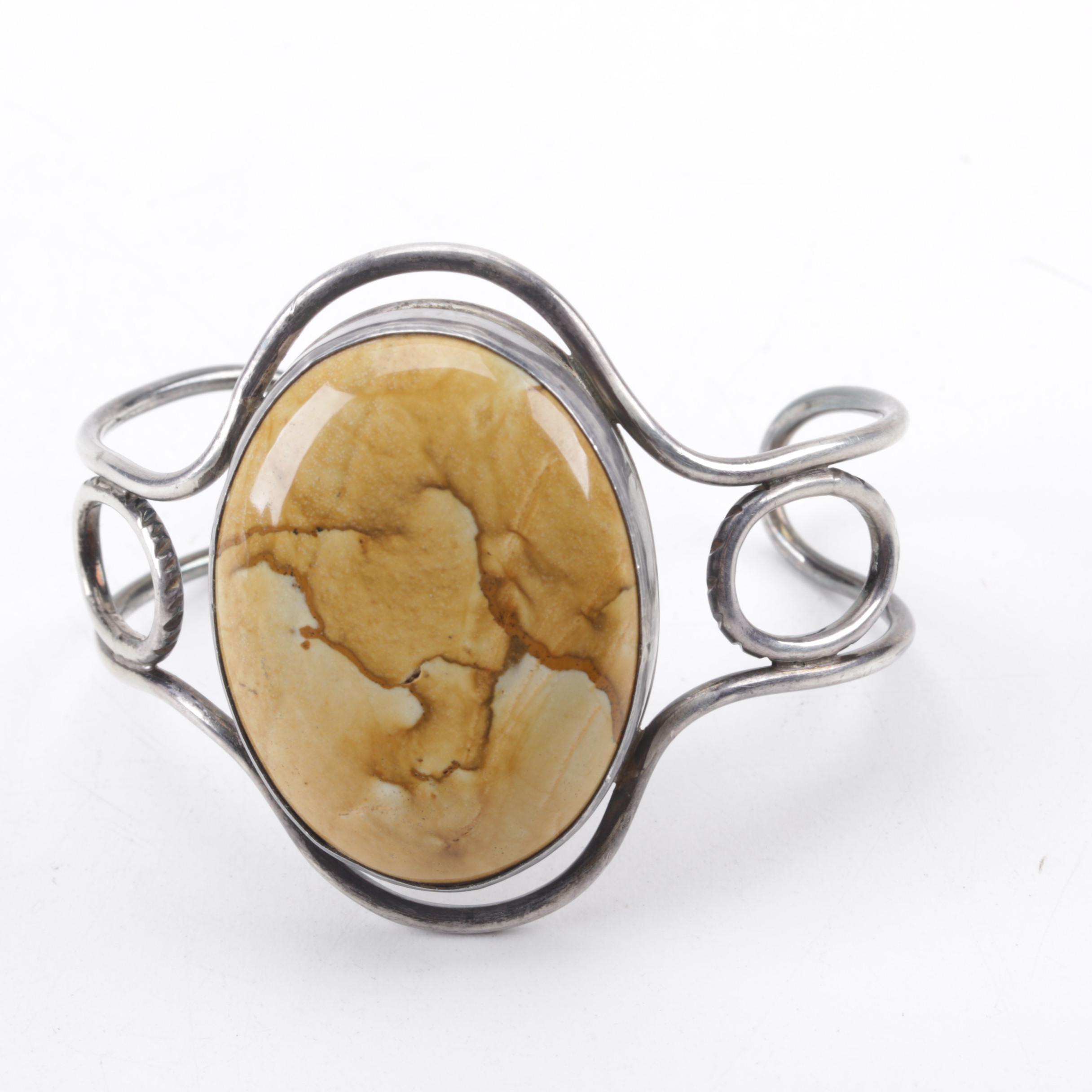 Sterling Silver Jasper Cuff Bracelet