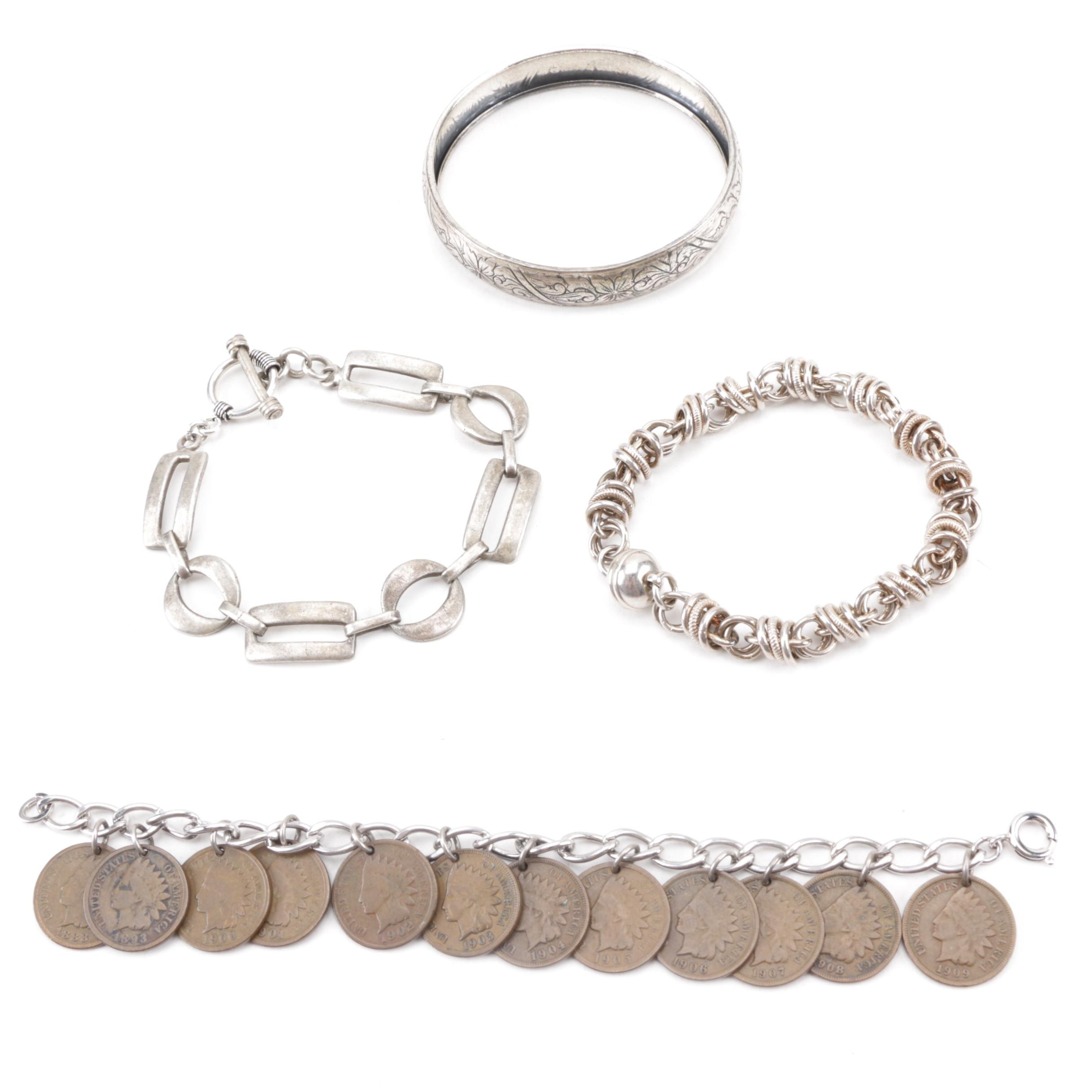Sterling Silver Jewelry with Indian Head Cent Charm Bracelet