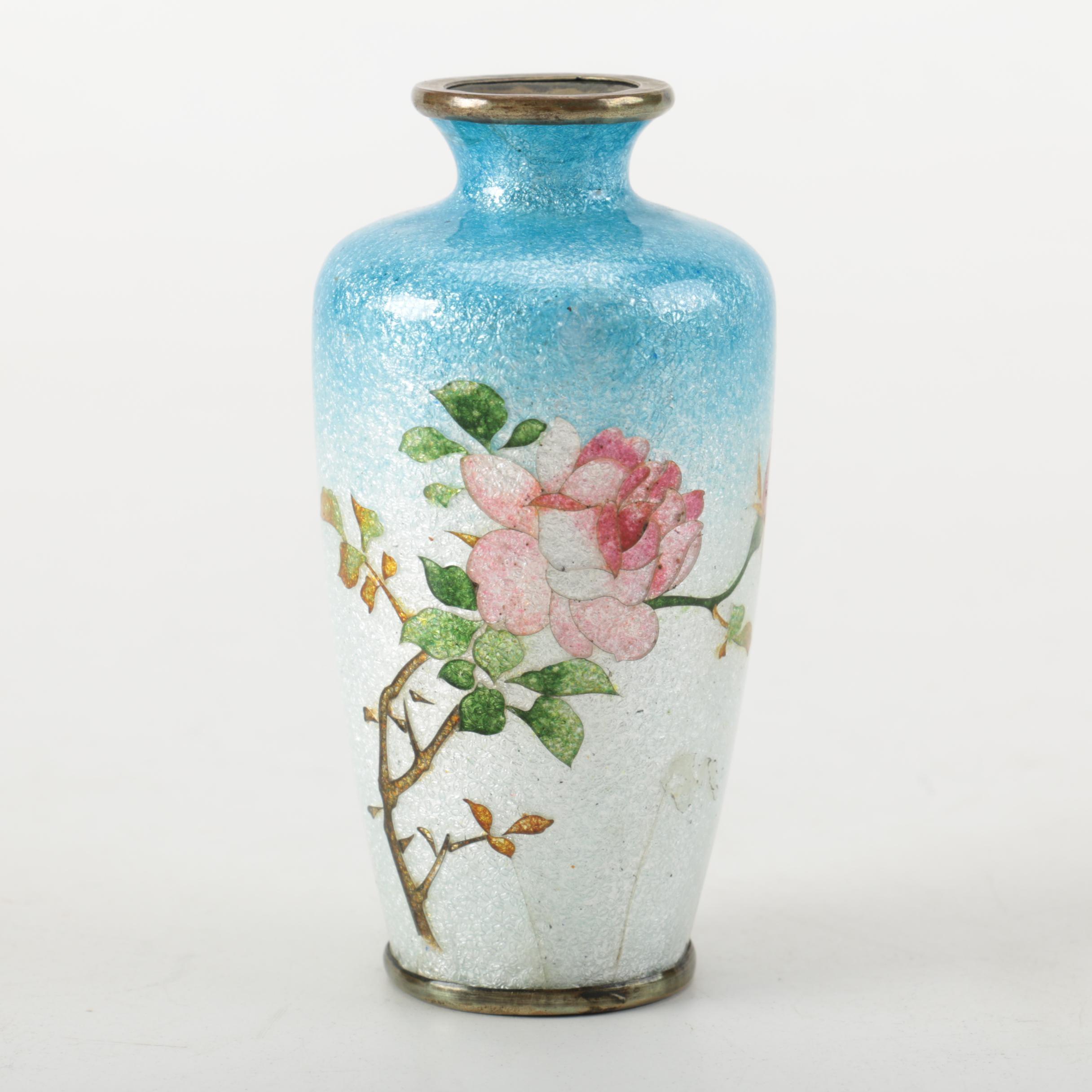 Miniature Enameled Brass Vase
