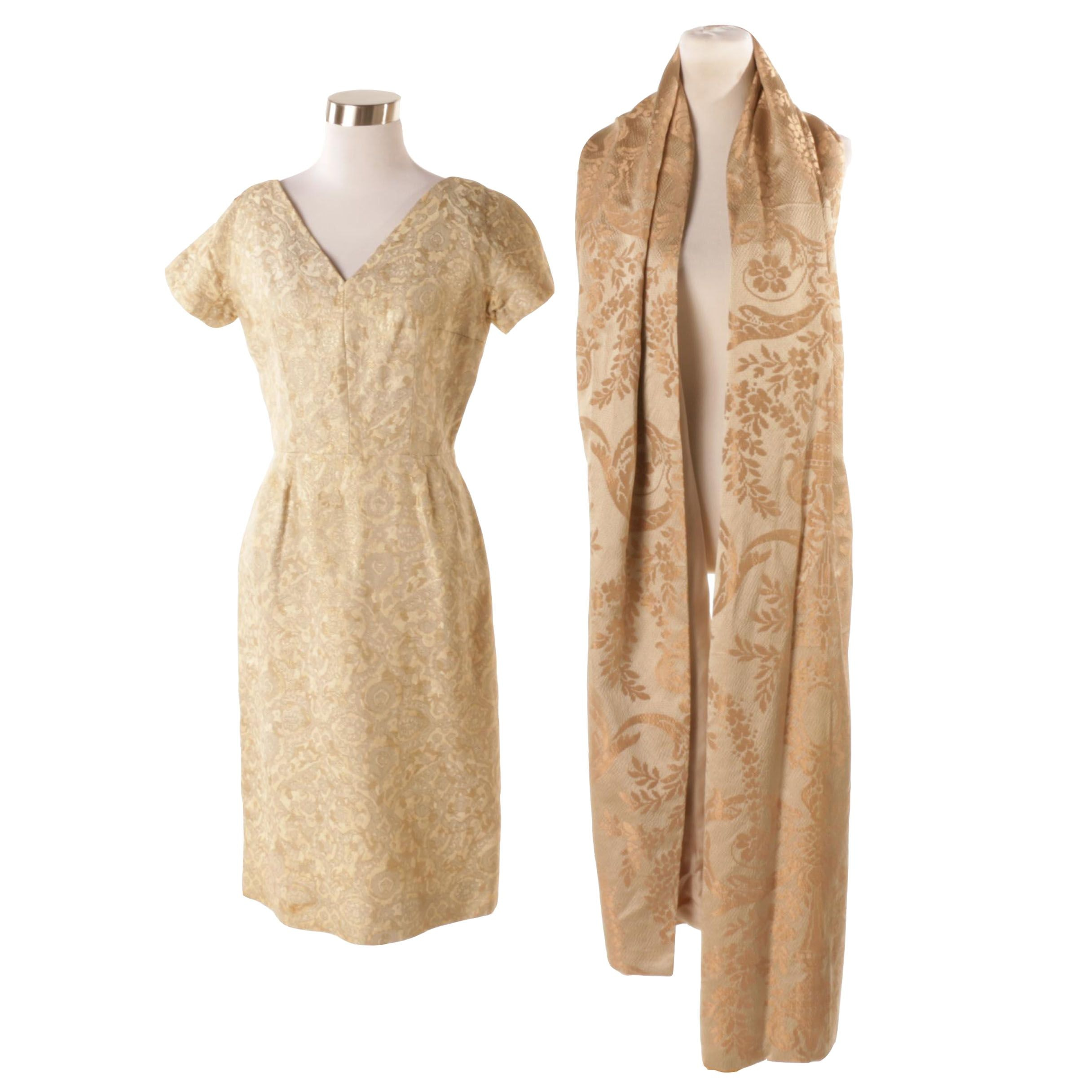 Vintage Mort Schrader Jacquard Dress with Wrap