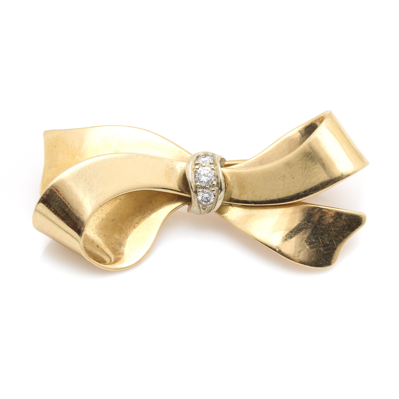 14K Yellow Gold Diamond Bow Brooch