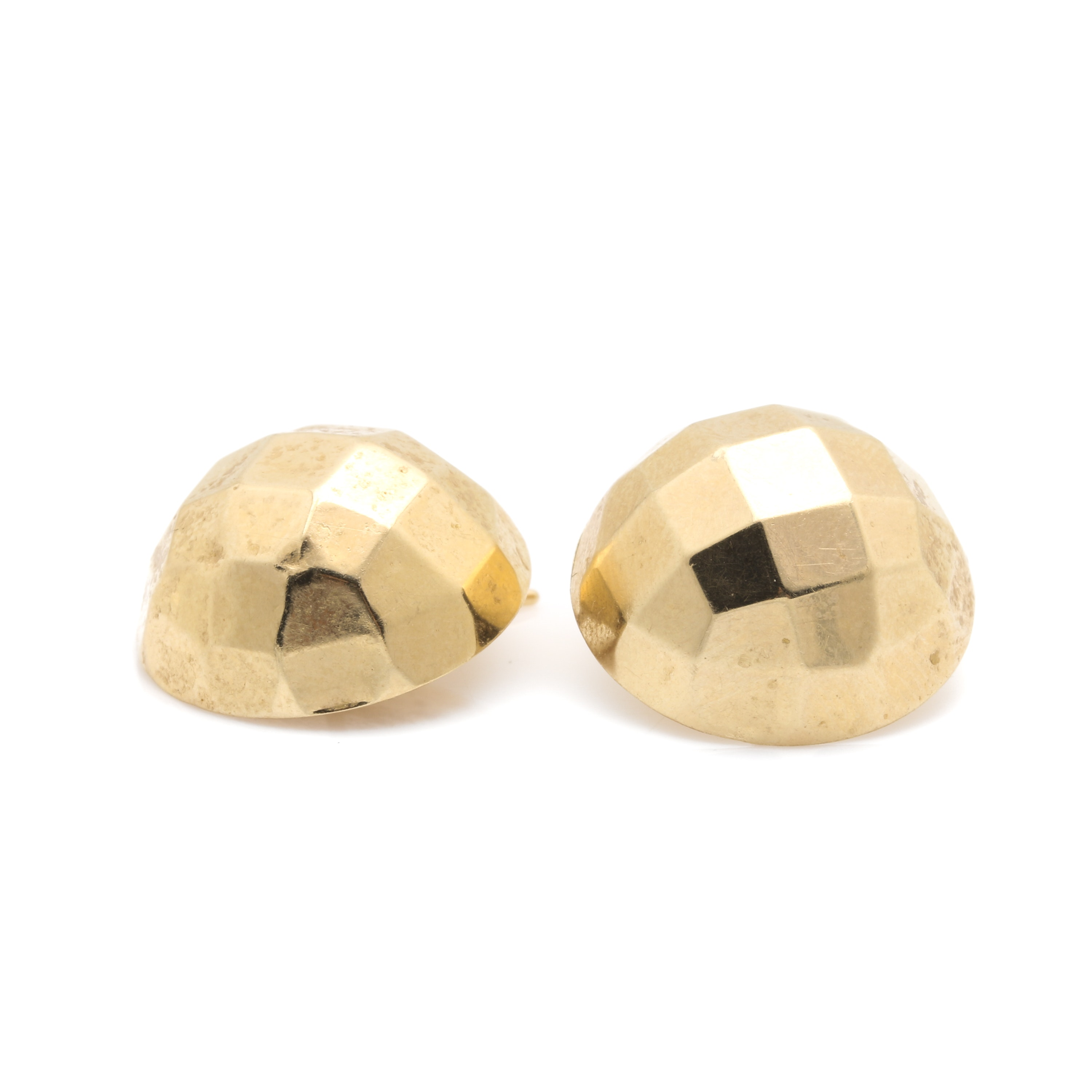 14K Yellow Gold Dome Stud Earrings