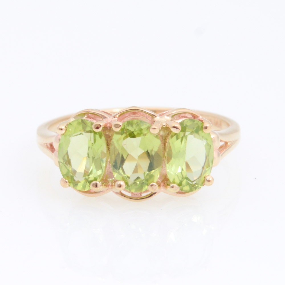 10K Yellow Gold Peridot Ring