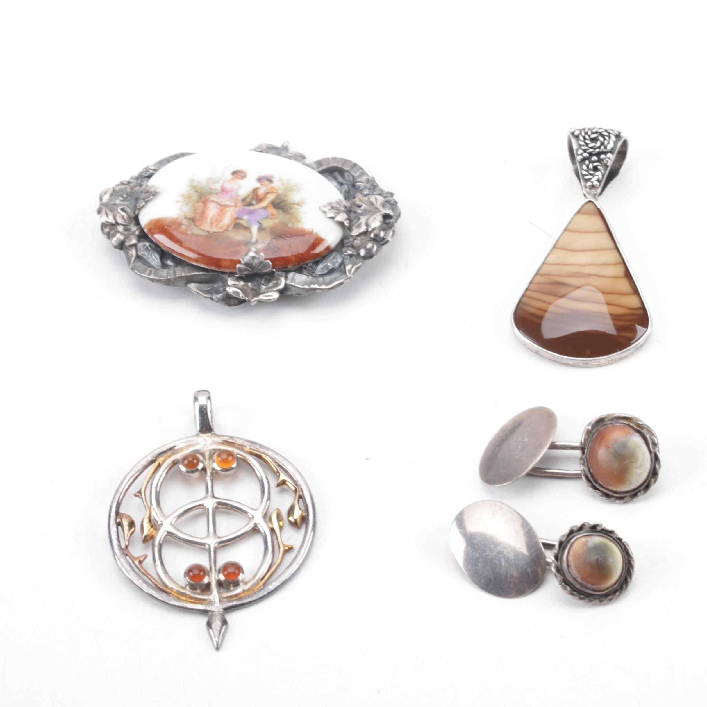 Grouping of Sterling Silver Jewelry Including Gemstones