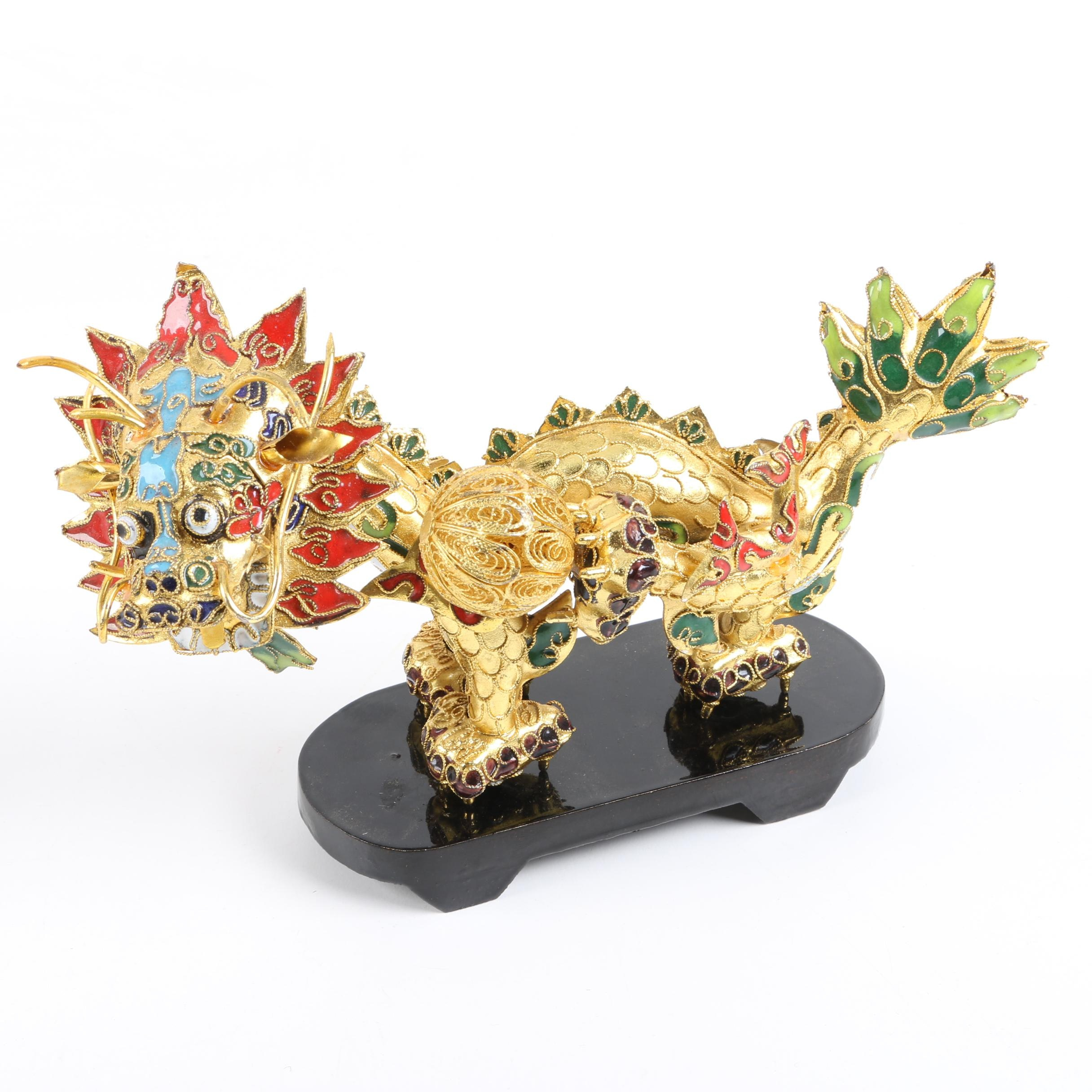 "Chinese Inspired Gold Tone and Cloisonné ""Dragon with Pearl"" Sculpture on Base"