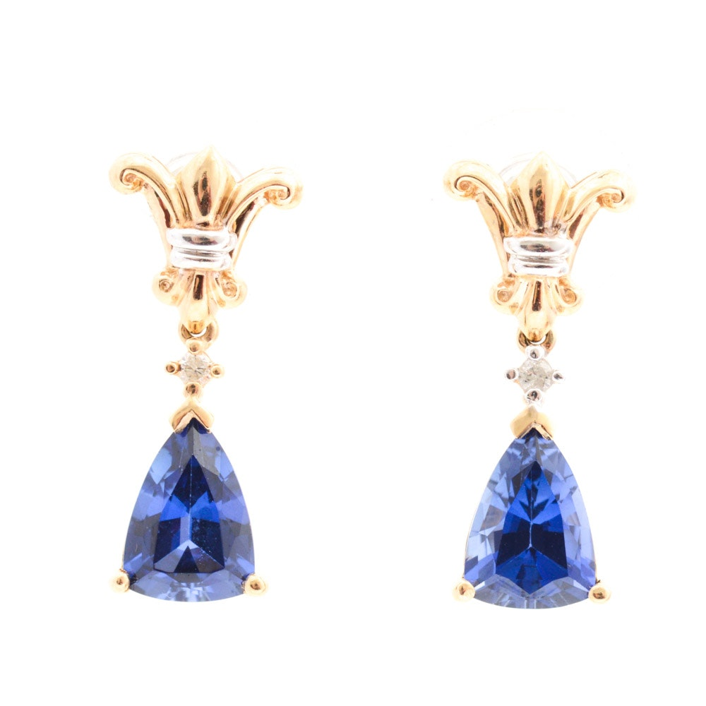 10K Yellow Gold Synthetic Sapphire & Diamond Earrings