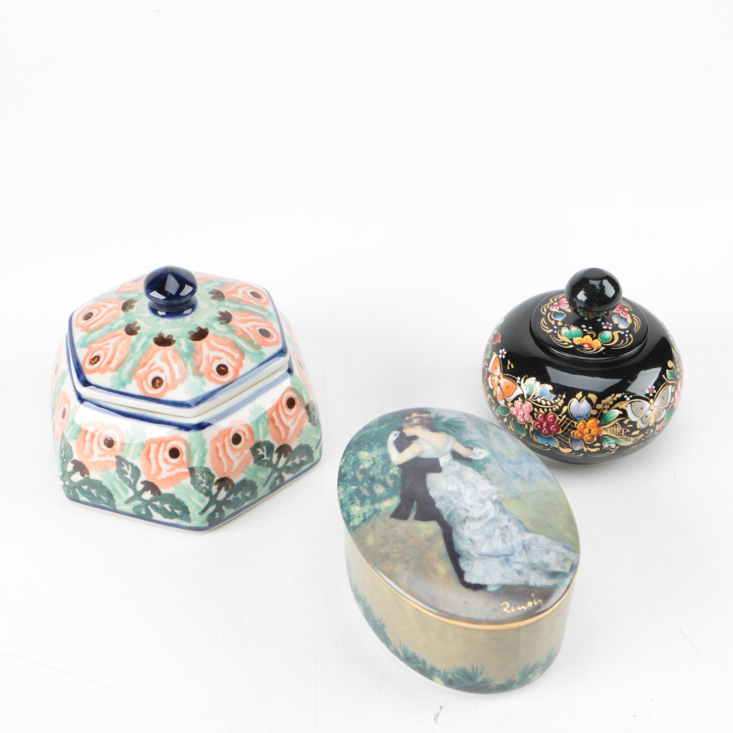 """Goebel """"Danse en Ville"""" Ceramic Trinket Dish After Renoir and Assorted Decor"""