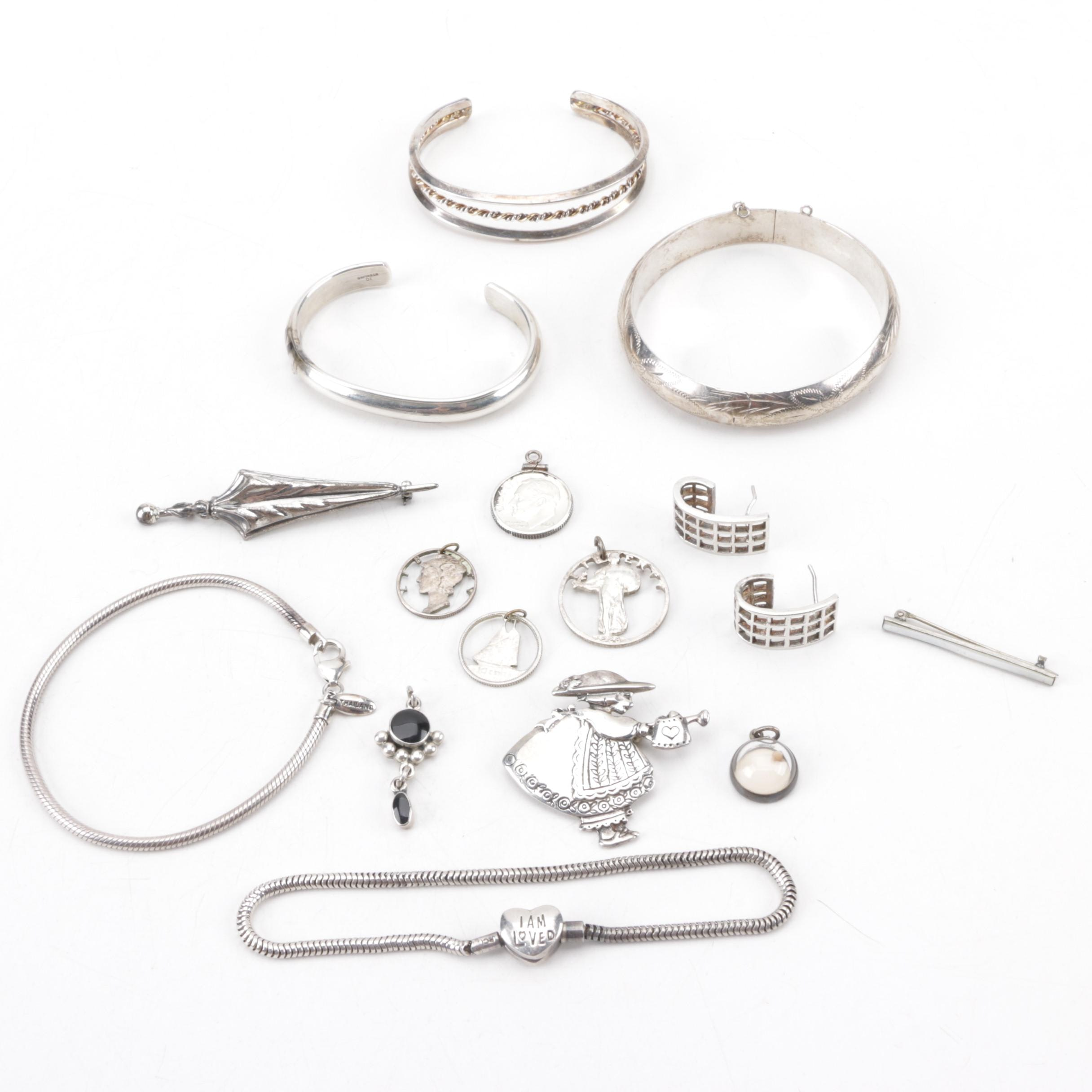 Assortment of Sterling Silver Jewelry Including Coin Pendants