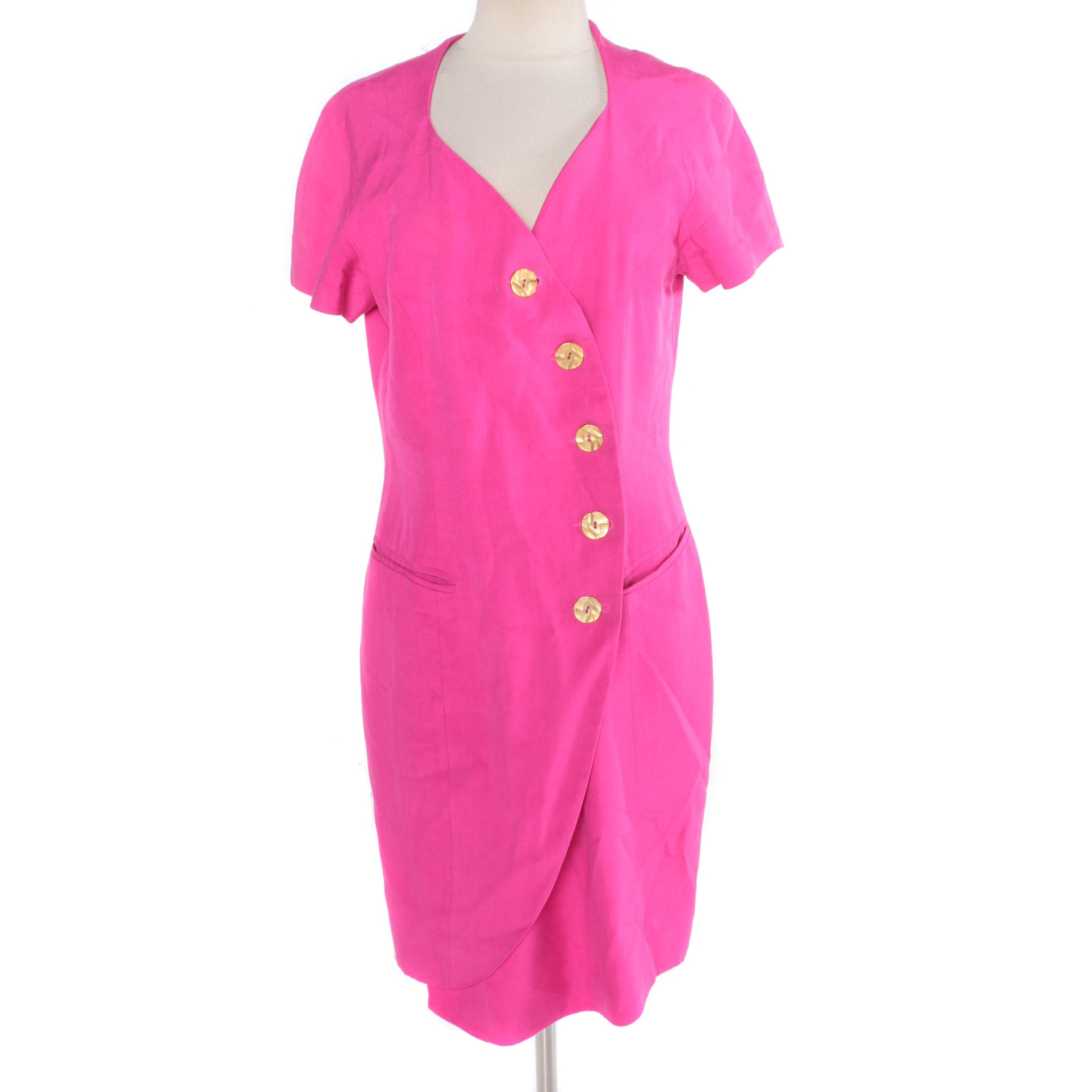 Vintage Tahari Hot Pink Dress