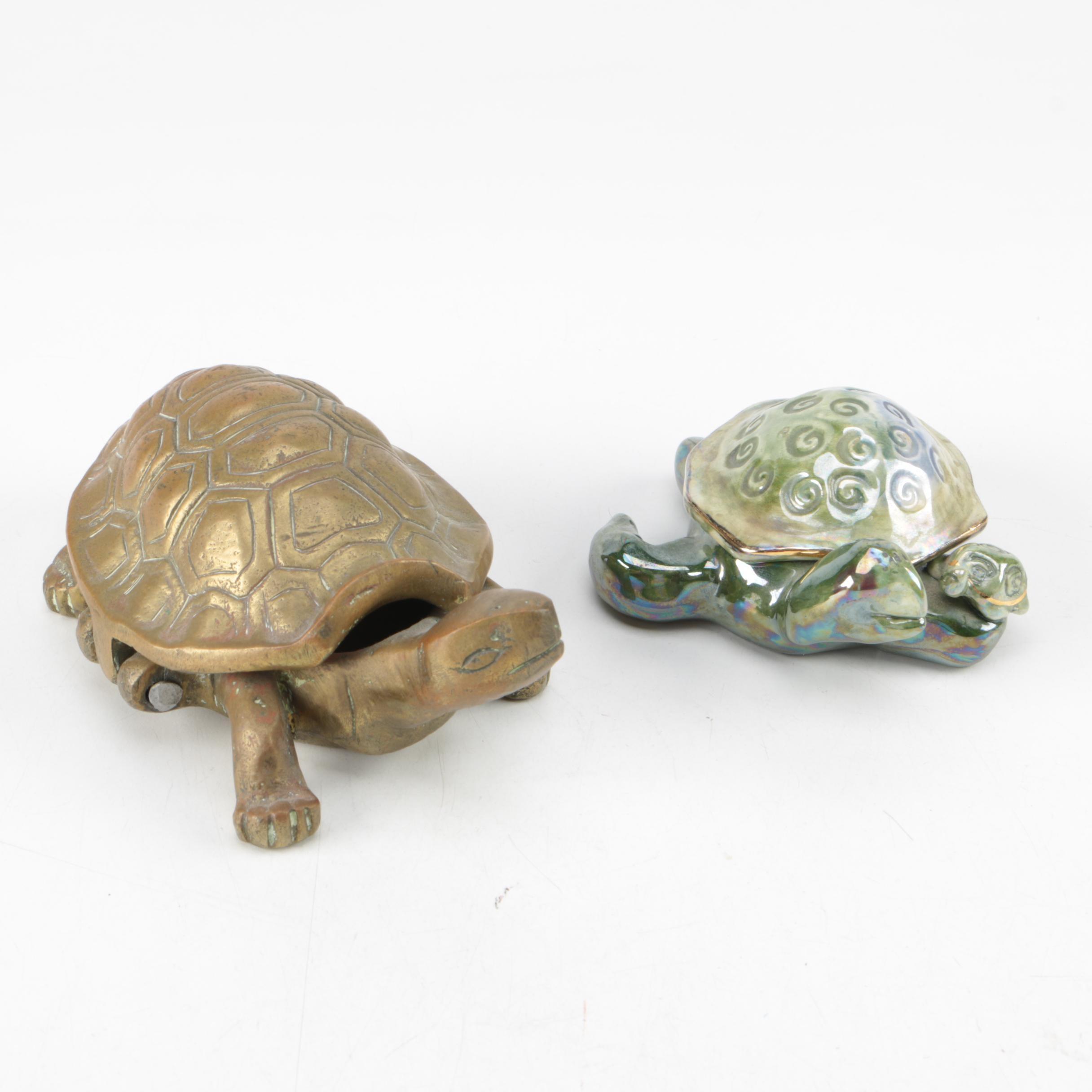 Pair of Turtle Trinket Box and Key Holder