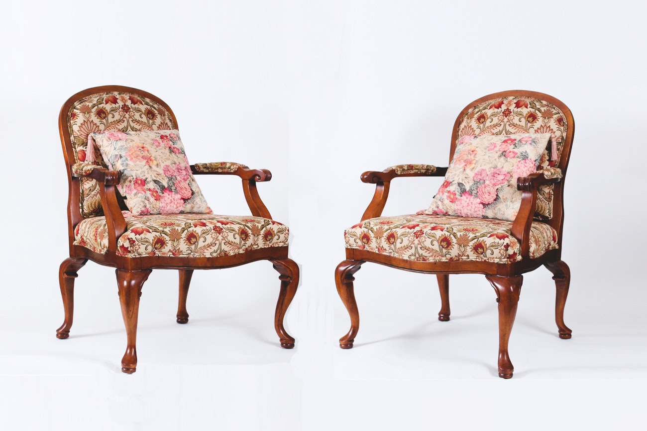 Pair of Queen Anne Style Upholstered Armchairs
