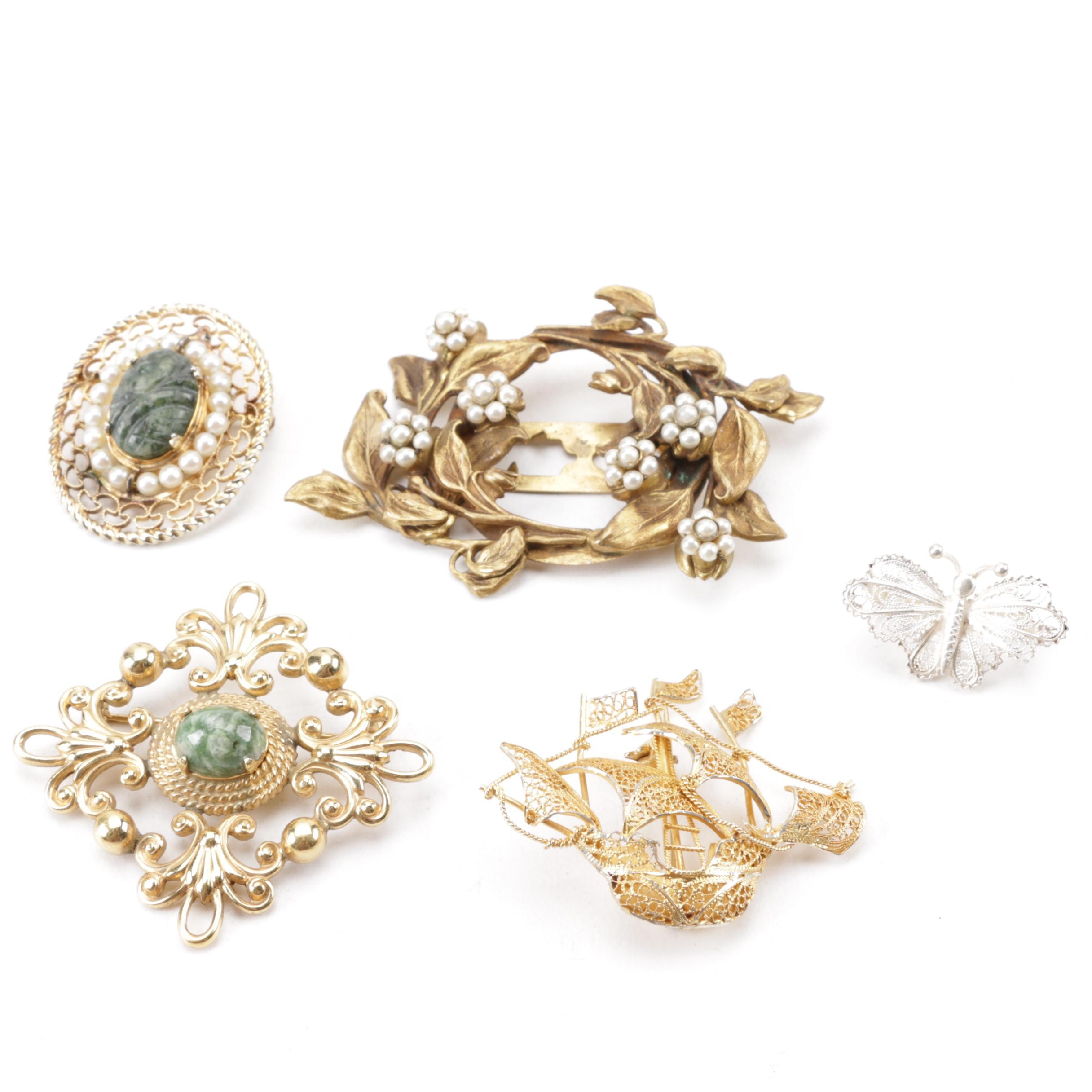 Vintage Sterling, 800 Silver and Gold Filled Brooches