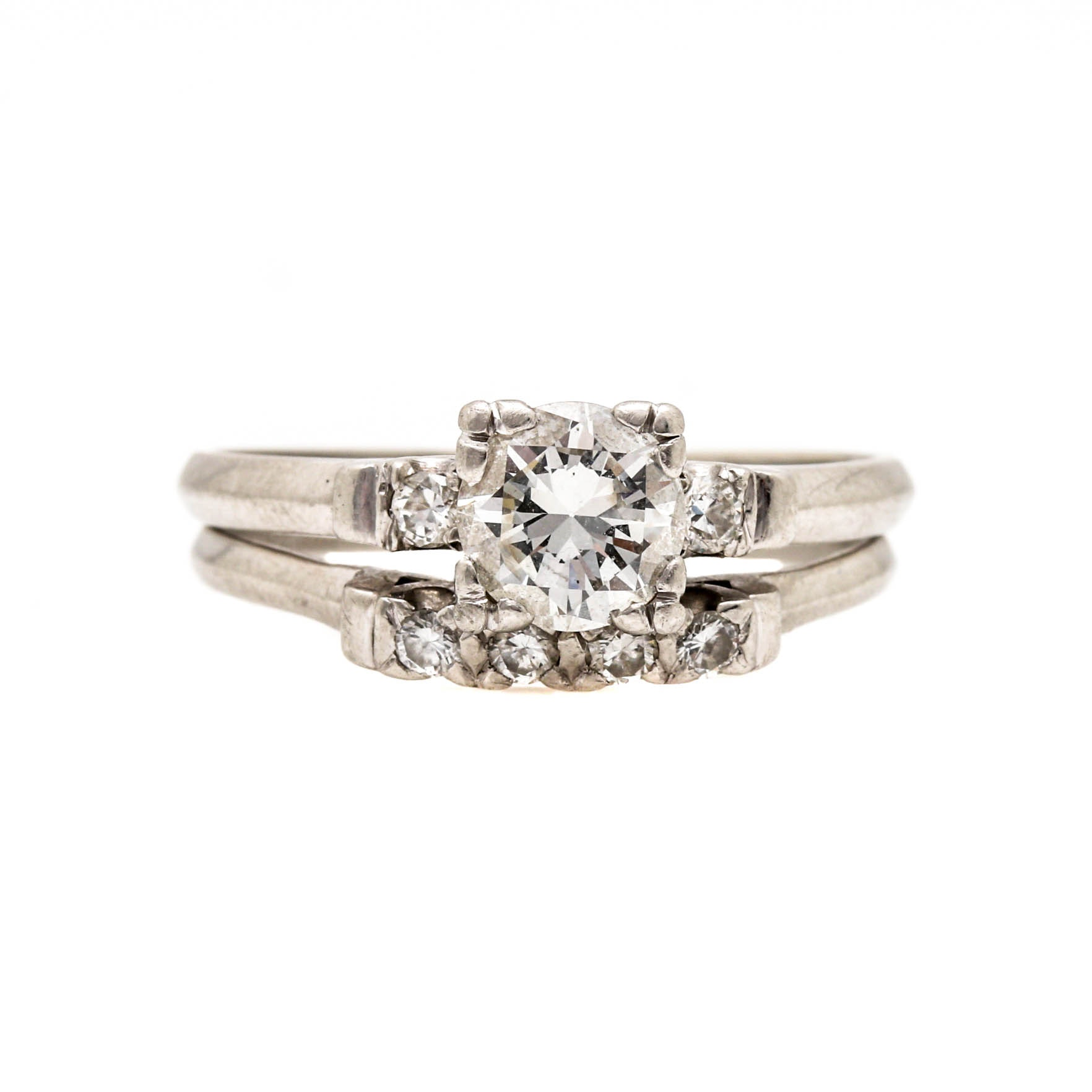 Platinum 1.08 CTW Diamond Wedding Ring Set