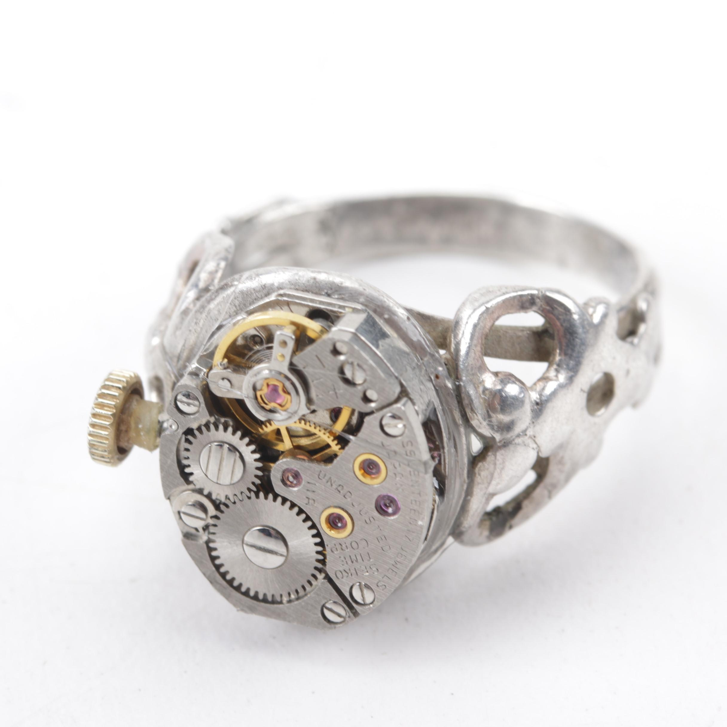 Handcrafted Sterling Silver Watch Movement Ring with Ruby Jewel