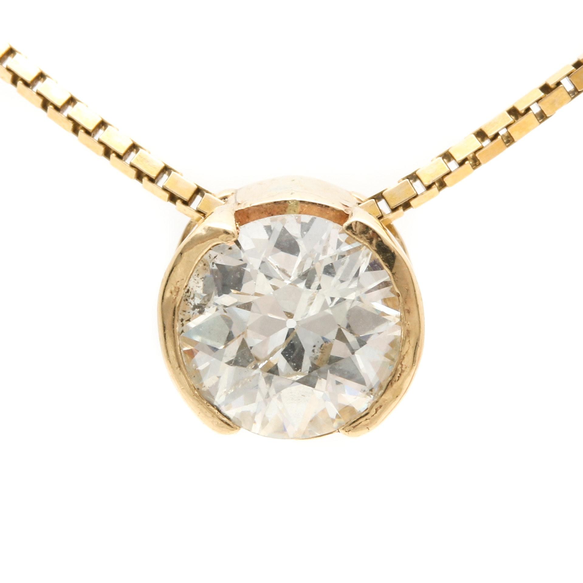 14K Yellow Gold 1.01 CT Diamond Pendant Necklace