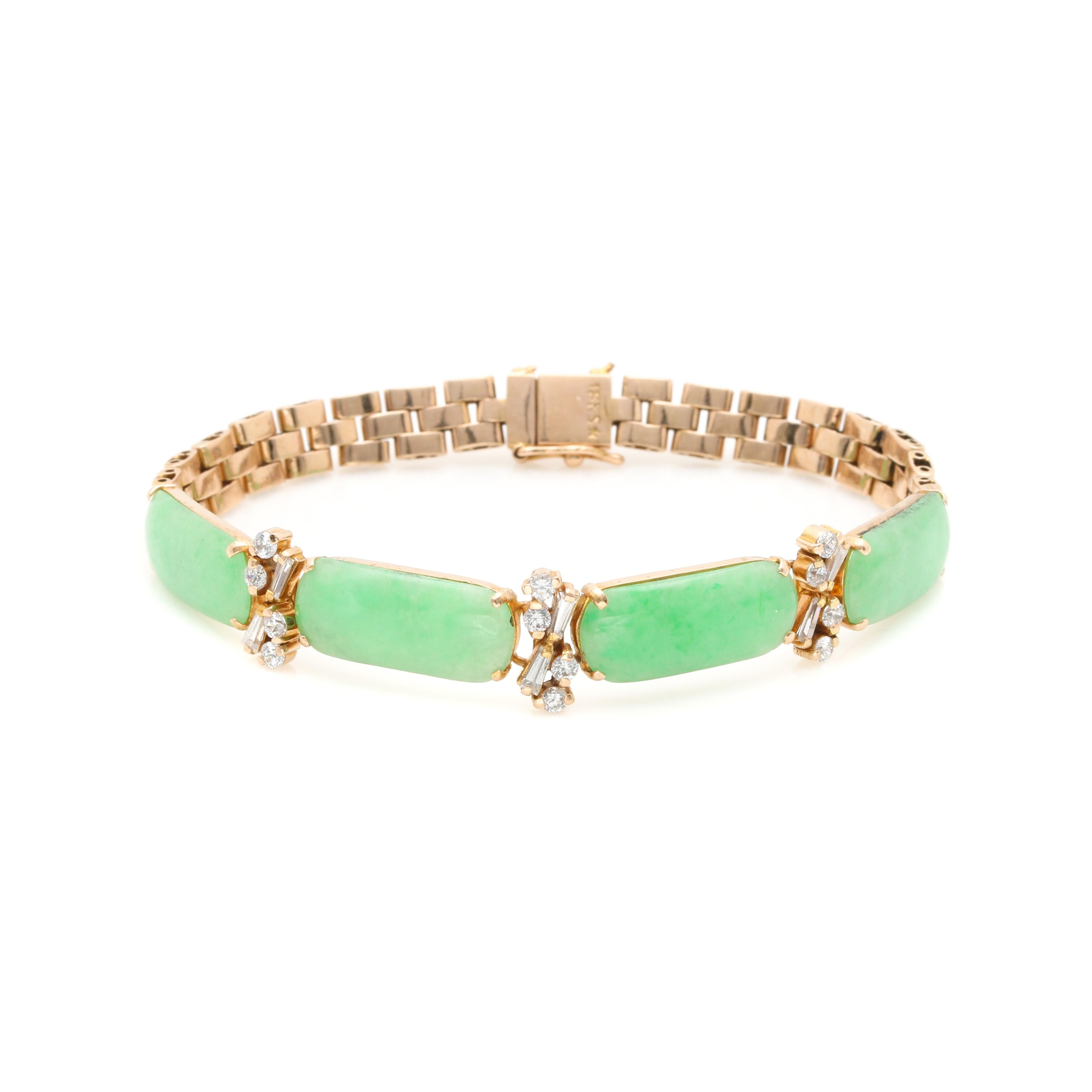 18K Yellow Gold Jadeite and Cubic Zirconia Bracelet