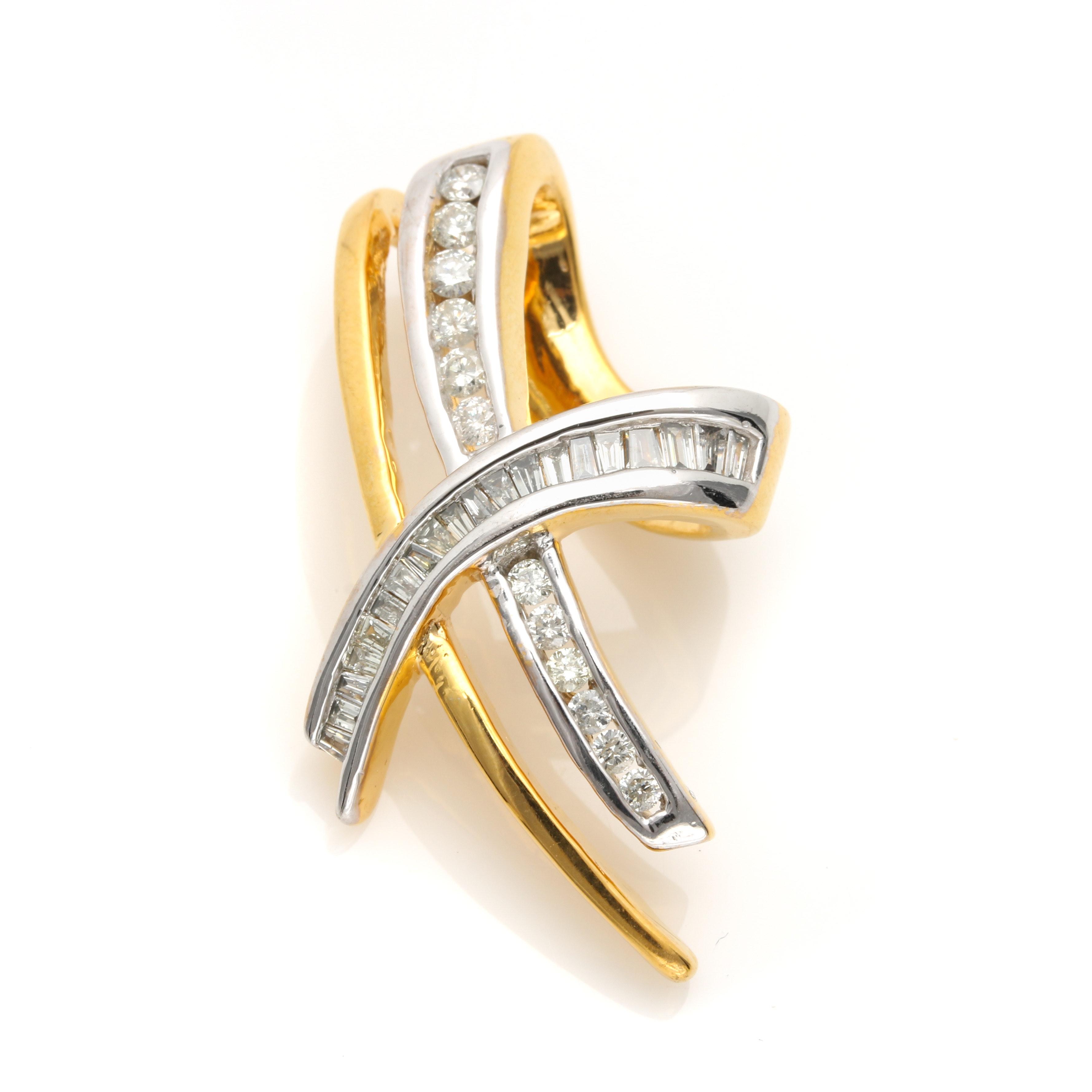 14K Yellow Gold 1.04 CTW Diamond Slide Pendant