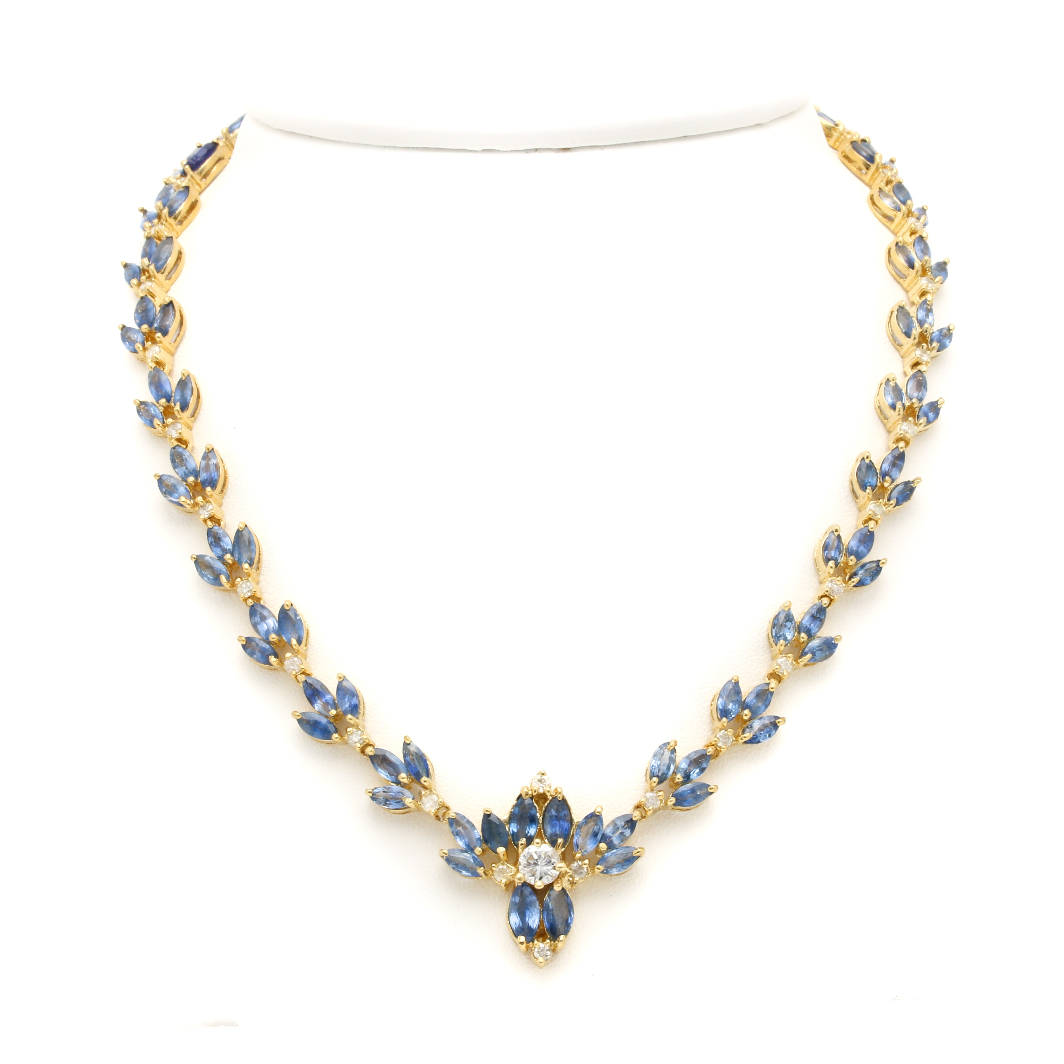 14K Yellow Gold 2.25 CTW Diamond and Sapphire Necklace