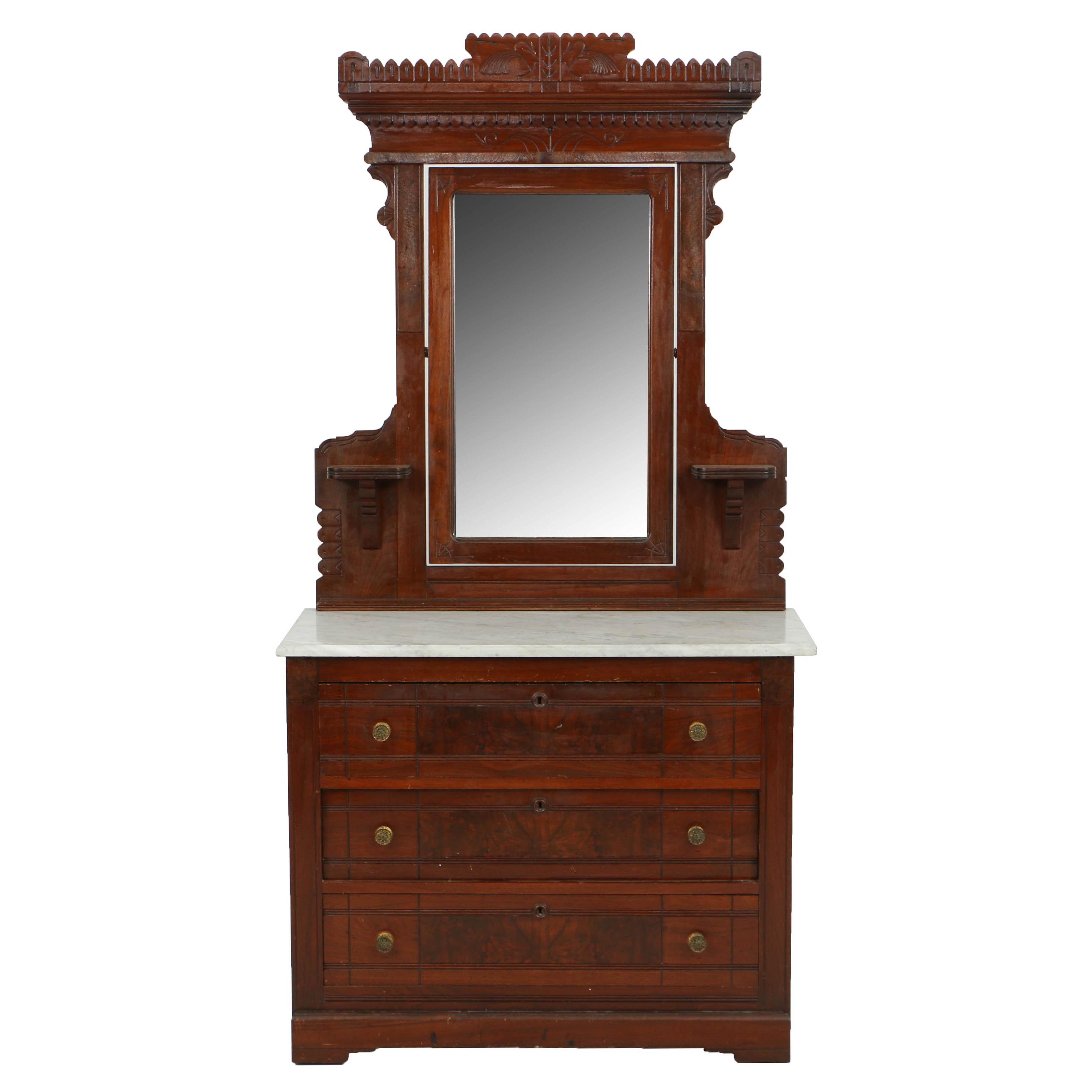 Antique Victorian Eastlake Walnut Dresser with Mirror, Circa Late 19th Century
